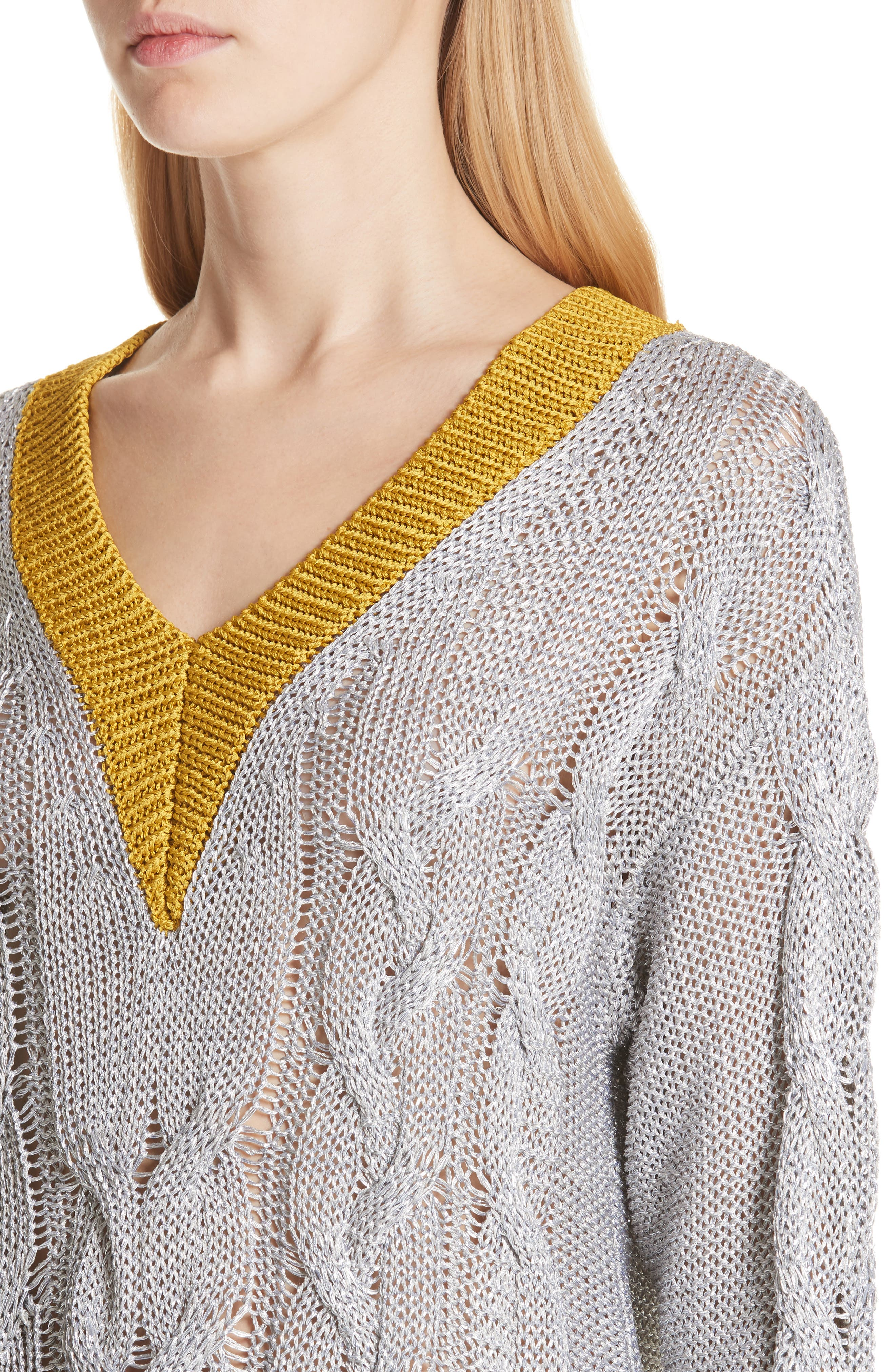 Emma Cable Knit Sweater,                             Alternate thumbnail 4, color,                             023