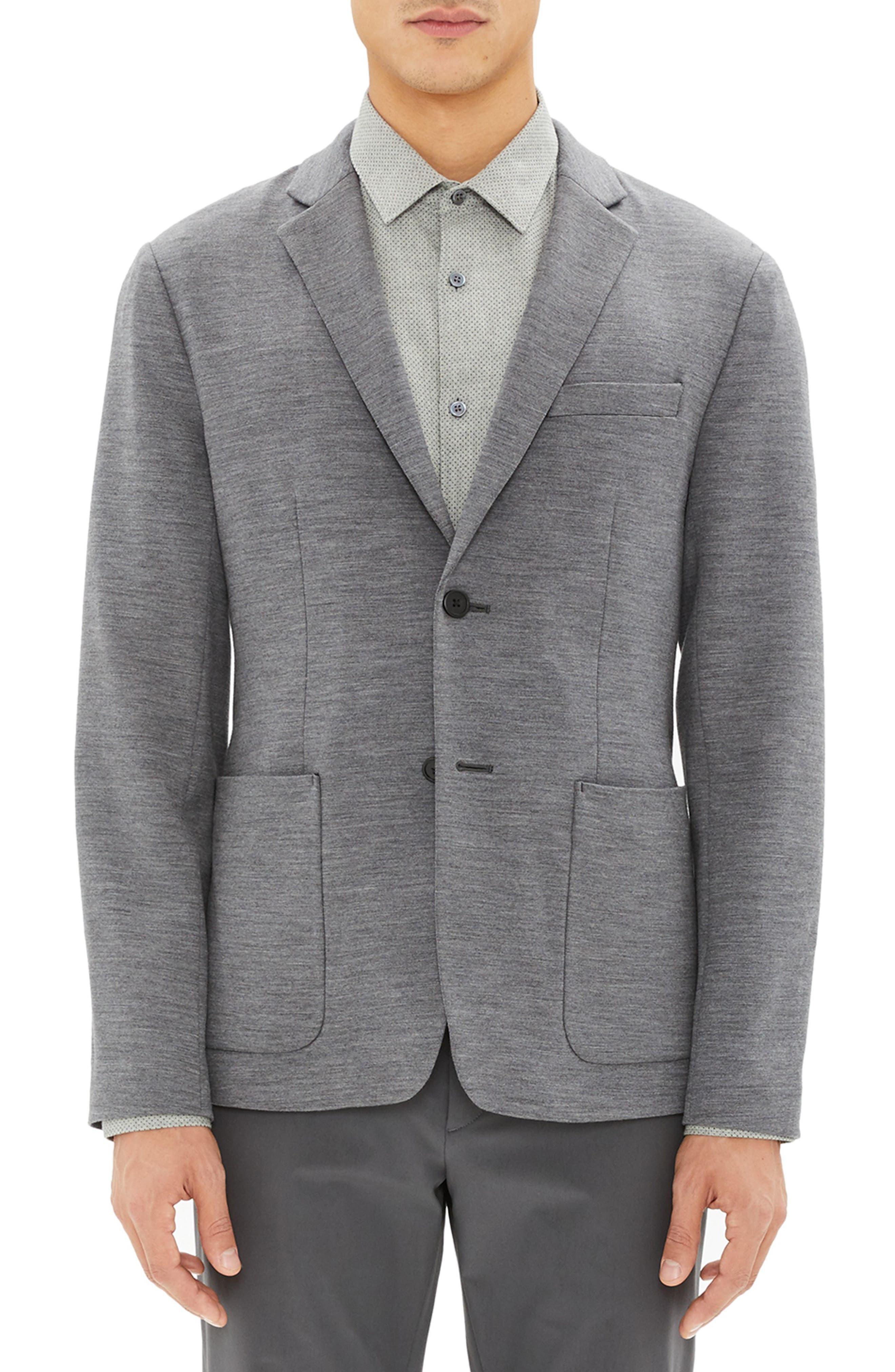 Clinton Wool Interlock Sport Coat,                         Main,                         color, DARK GREY MELANGE