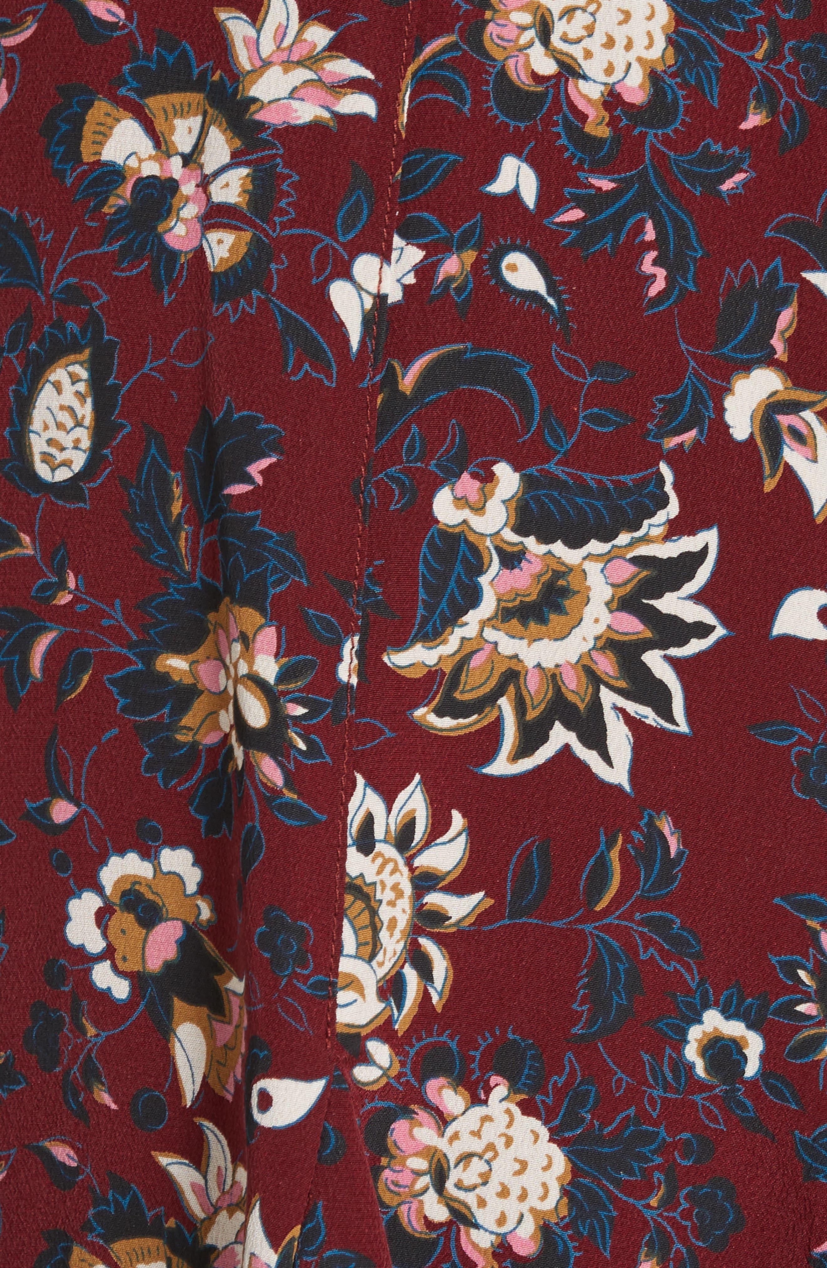Riggins Silk Dress,                             Alternate thumbnail 6, color,                             BORDEAUX MULTI
