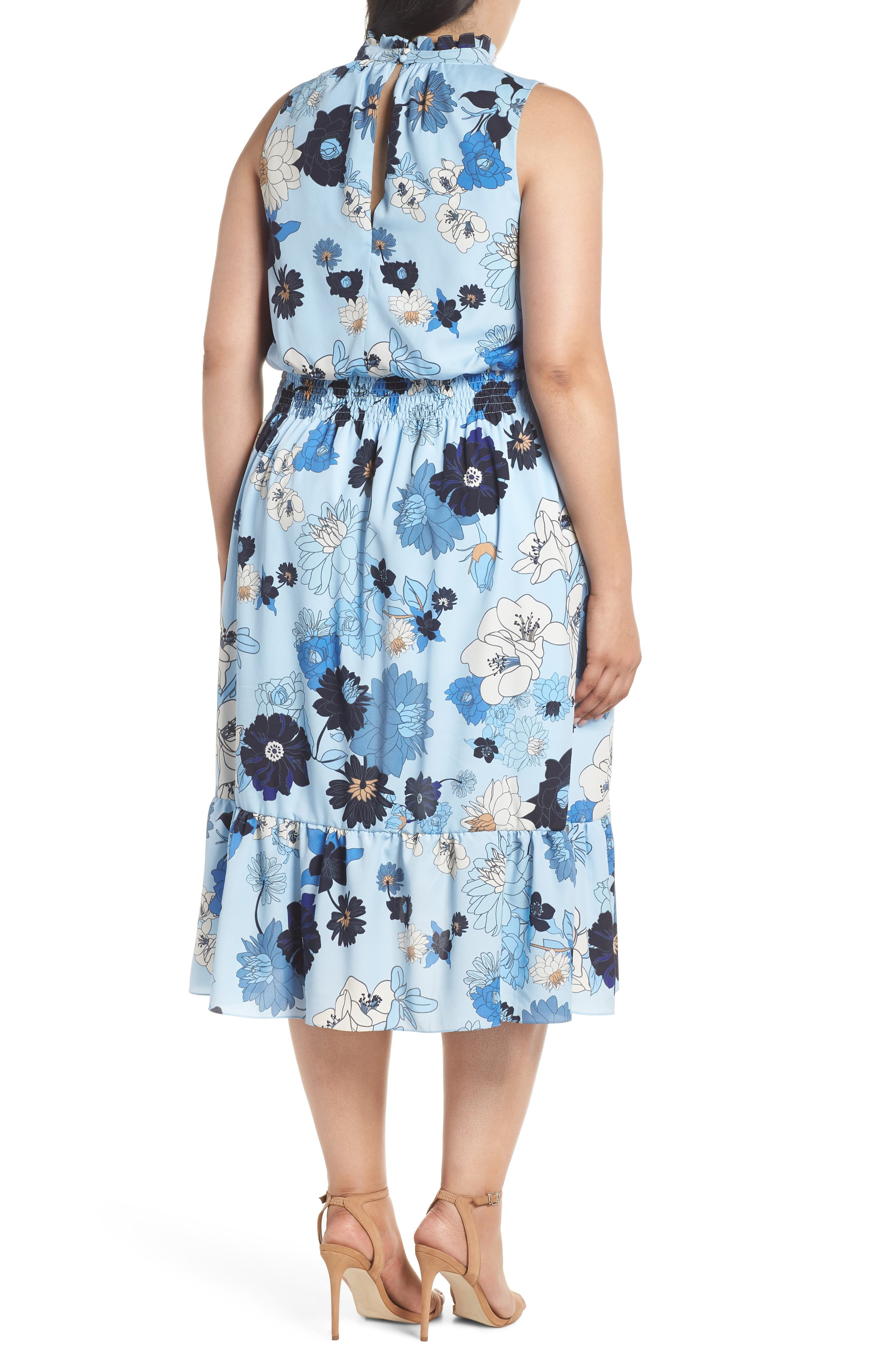 Floral Ruffle Neck Blouson Midi Dress,                             Alternate thumbnail 2, color,                             452