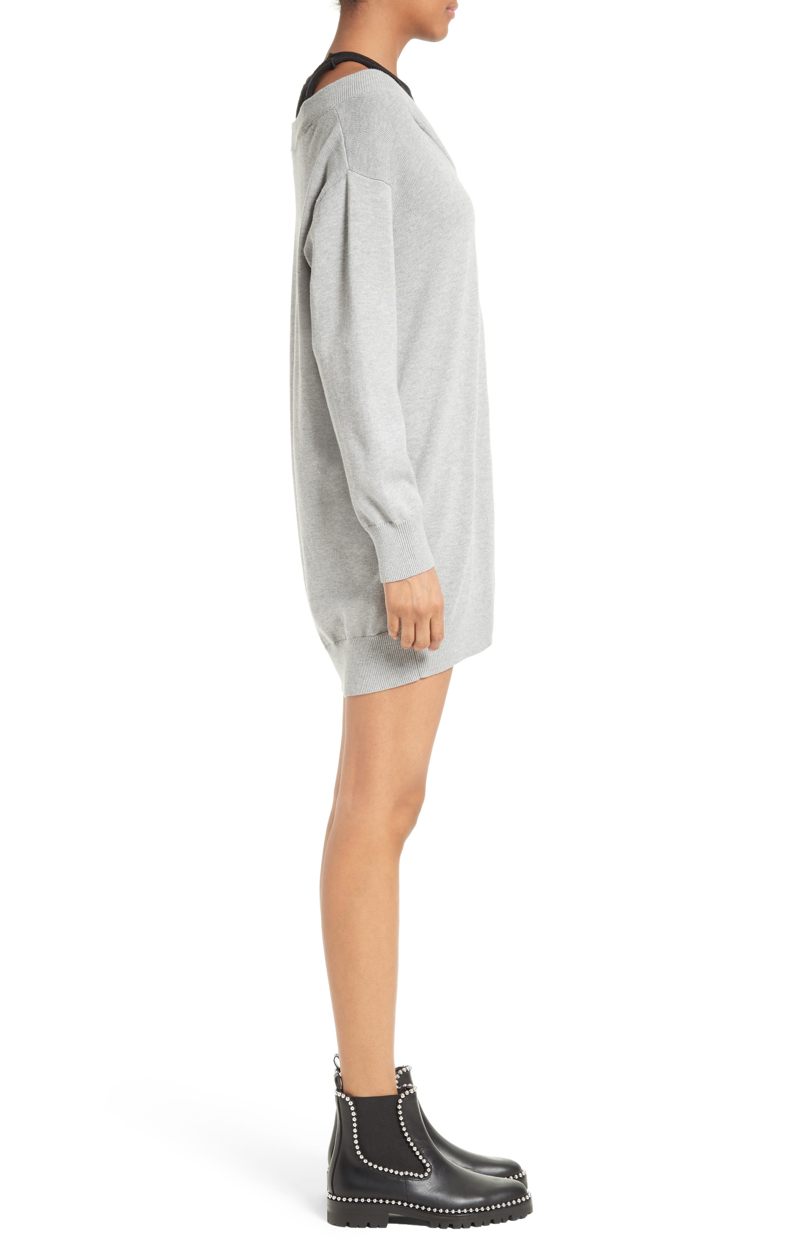 Knit Sweater Dress with Inner Tank,                             Alternate thumbnail 3, color,