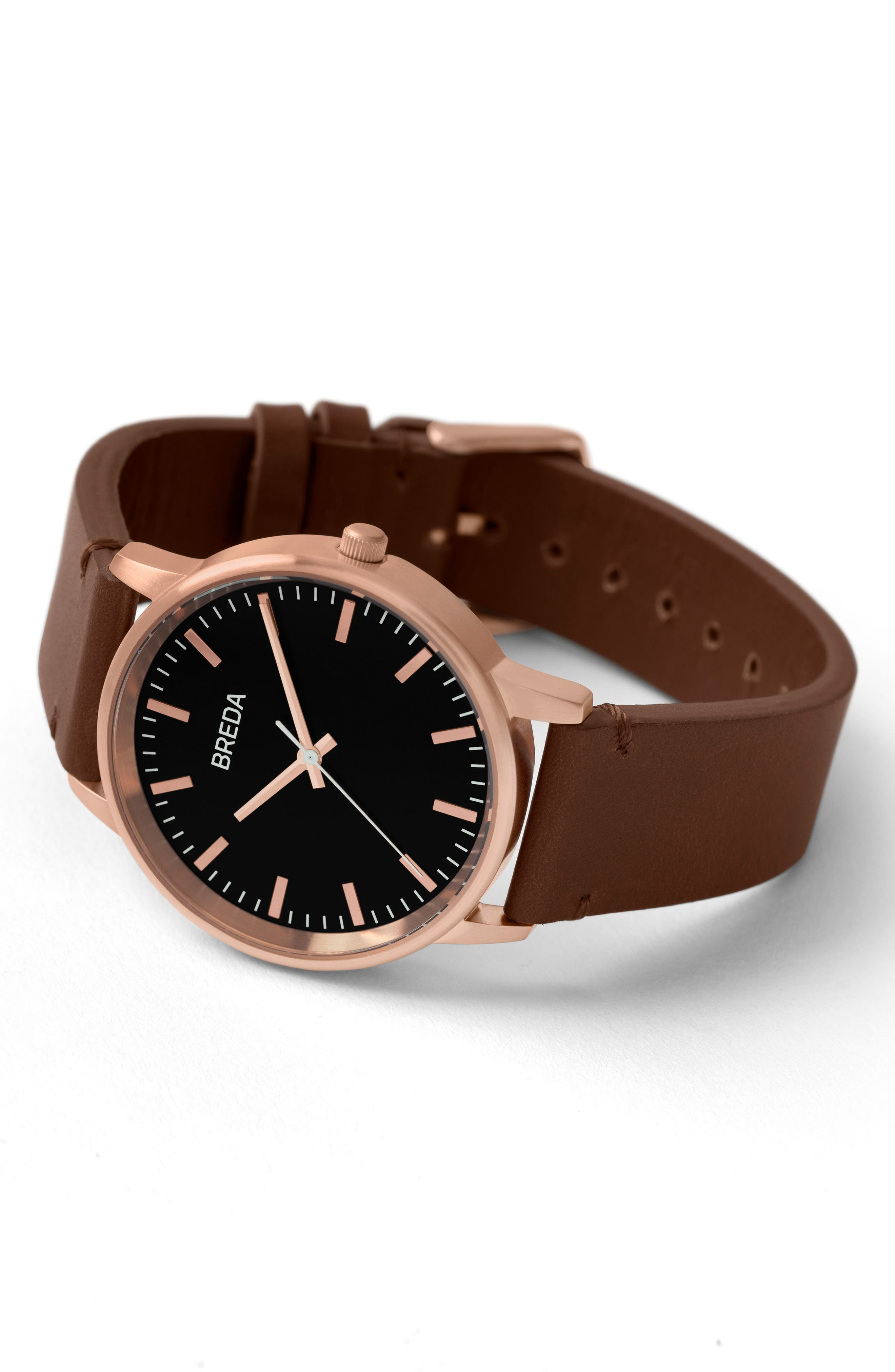 Zapf Leather Strap Watch, 39mm,                             Alternate thumbnail 3, color,                             BROWN/ BLACK/ ROSE GOLD