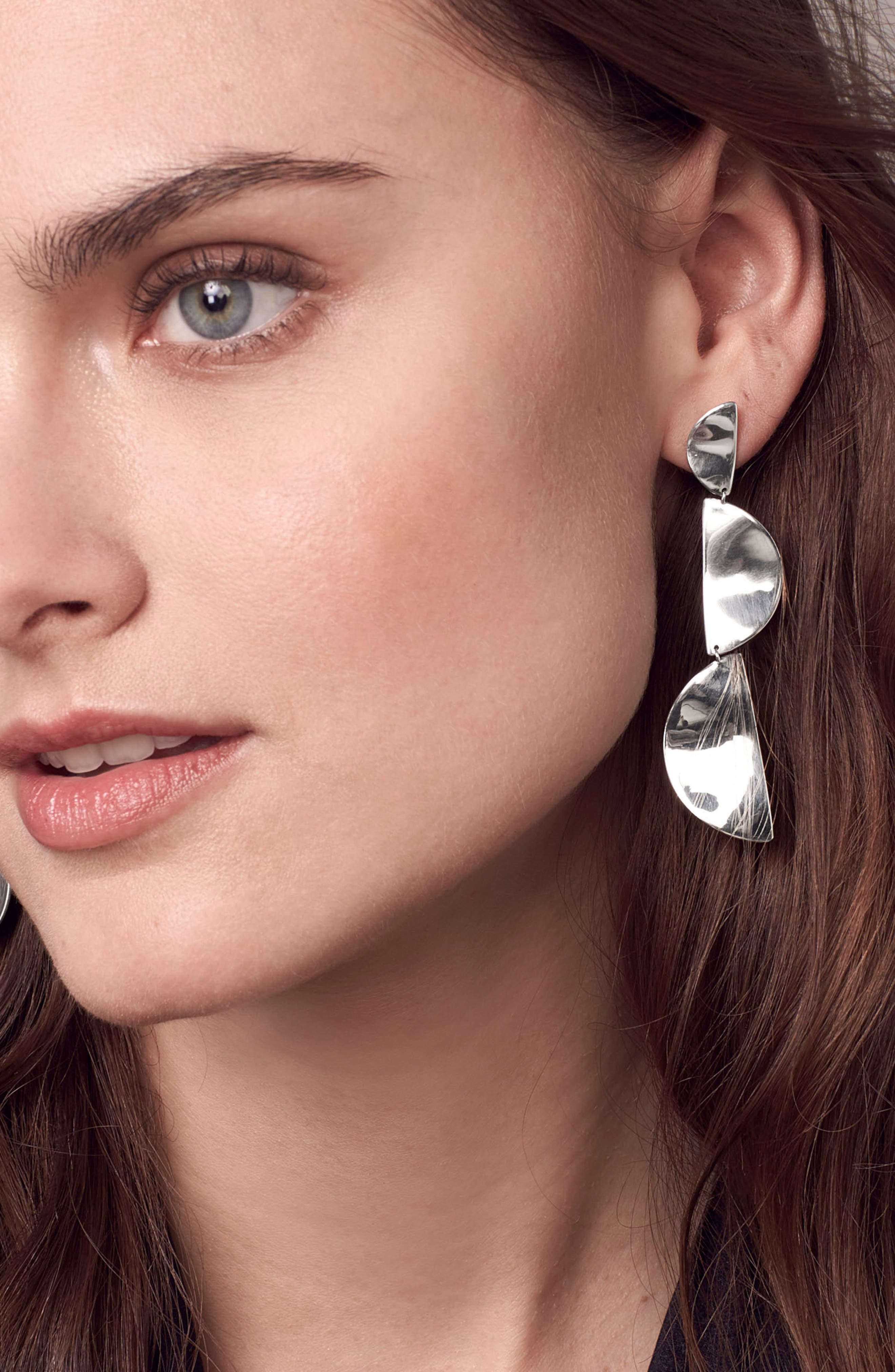 Classico Long Half Wavy Disc Earrings,                             Alternate thumbnail 3, color,                             SILVER