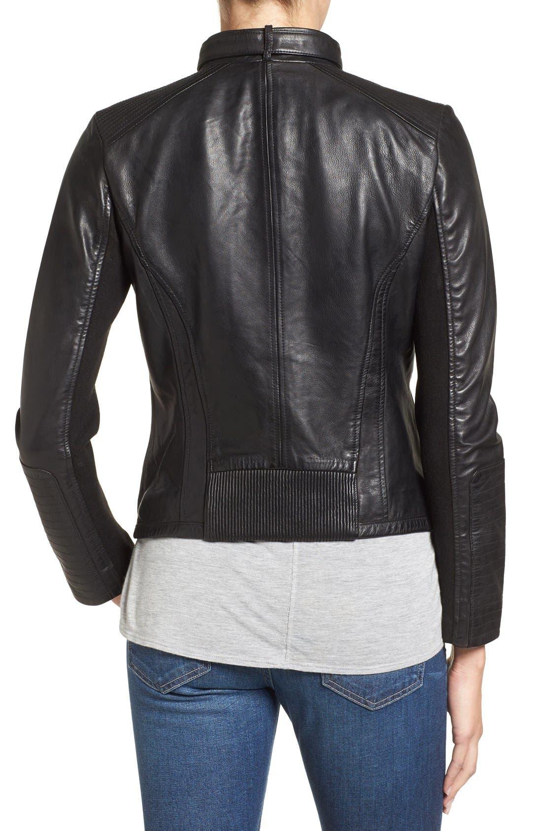 Zip Front Leather Biker Jacket,                             Alternate thumbnail 5, color,