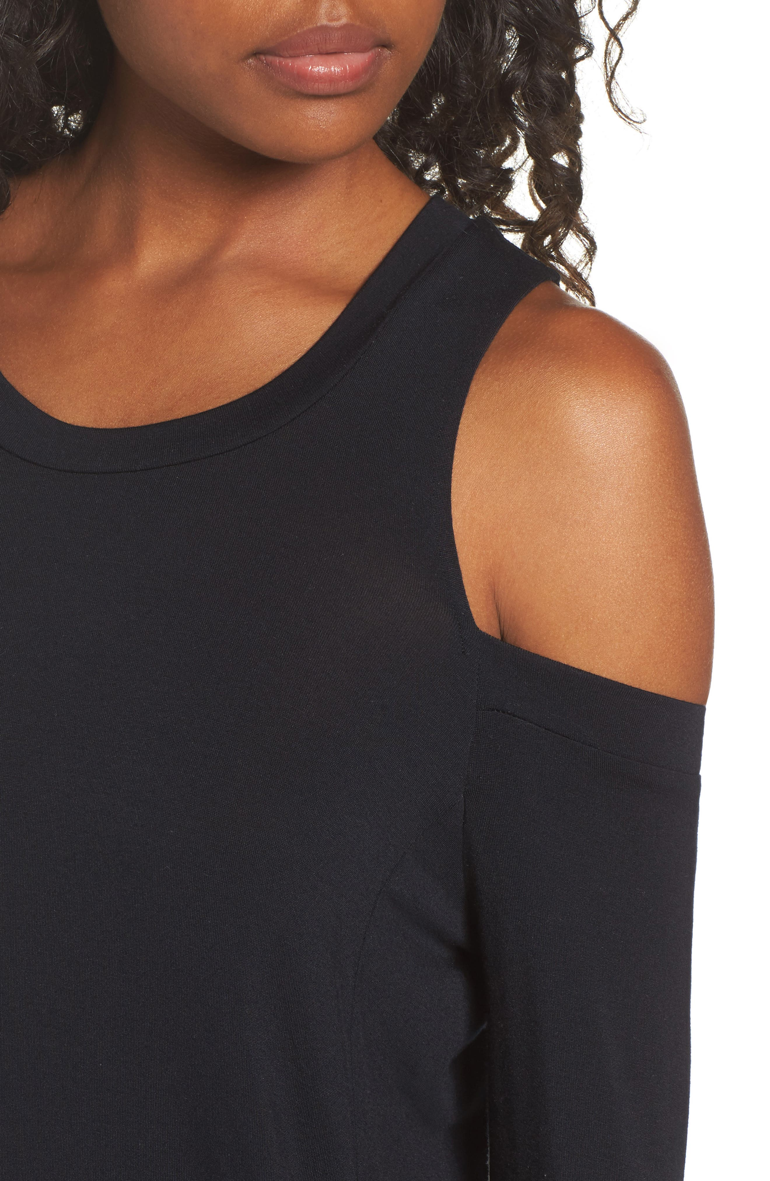 Roma Cold Shoulder Pullover,                             Alternate thumbnail 4, color,                             001