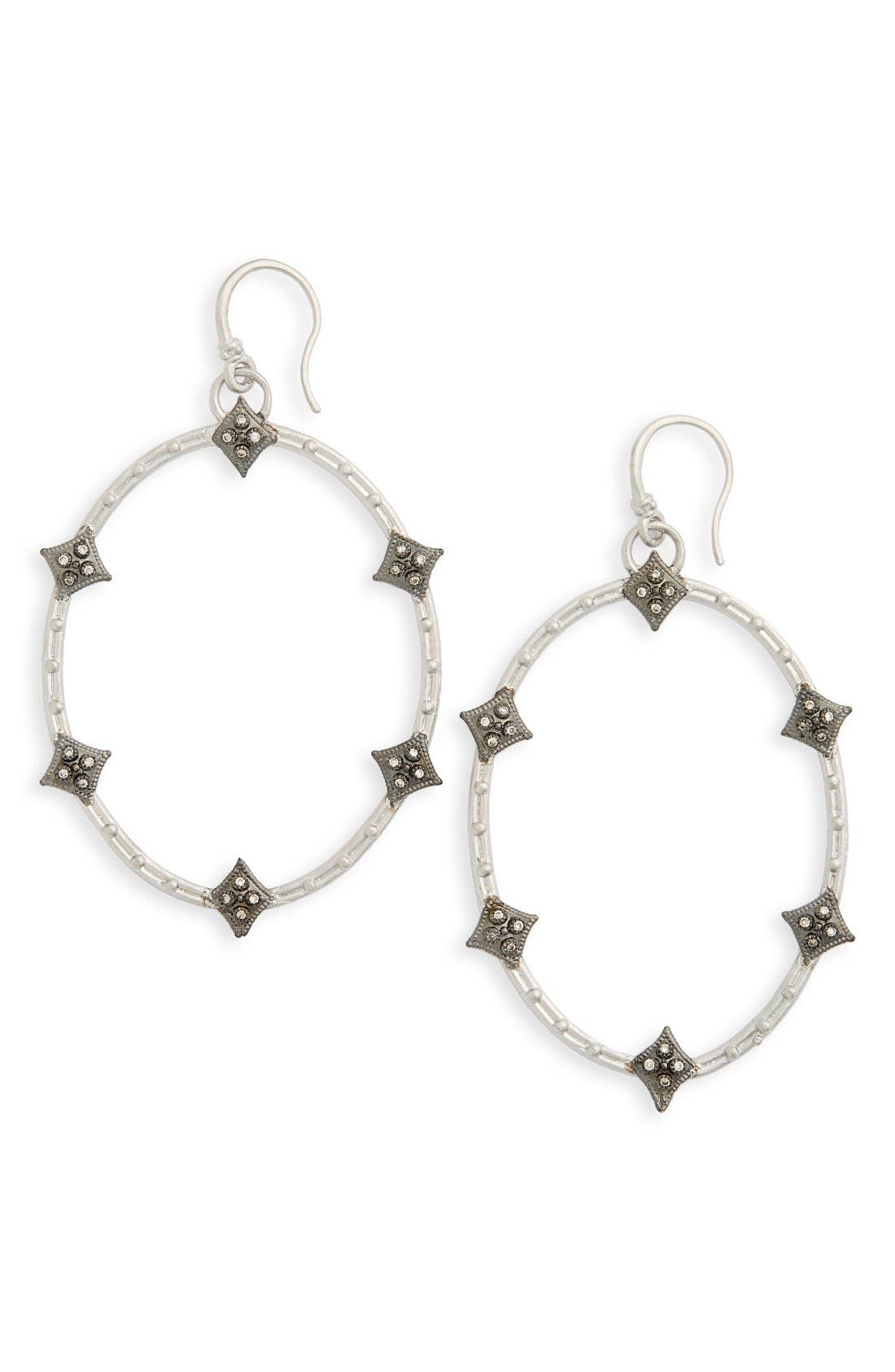 Old World Crivelli Oval Drop Diamond Earrings,                             Main thumbnail 1, color,                             SILVER