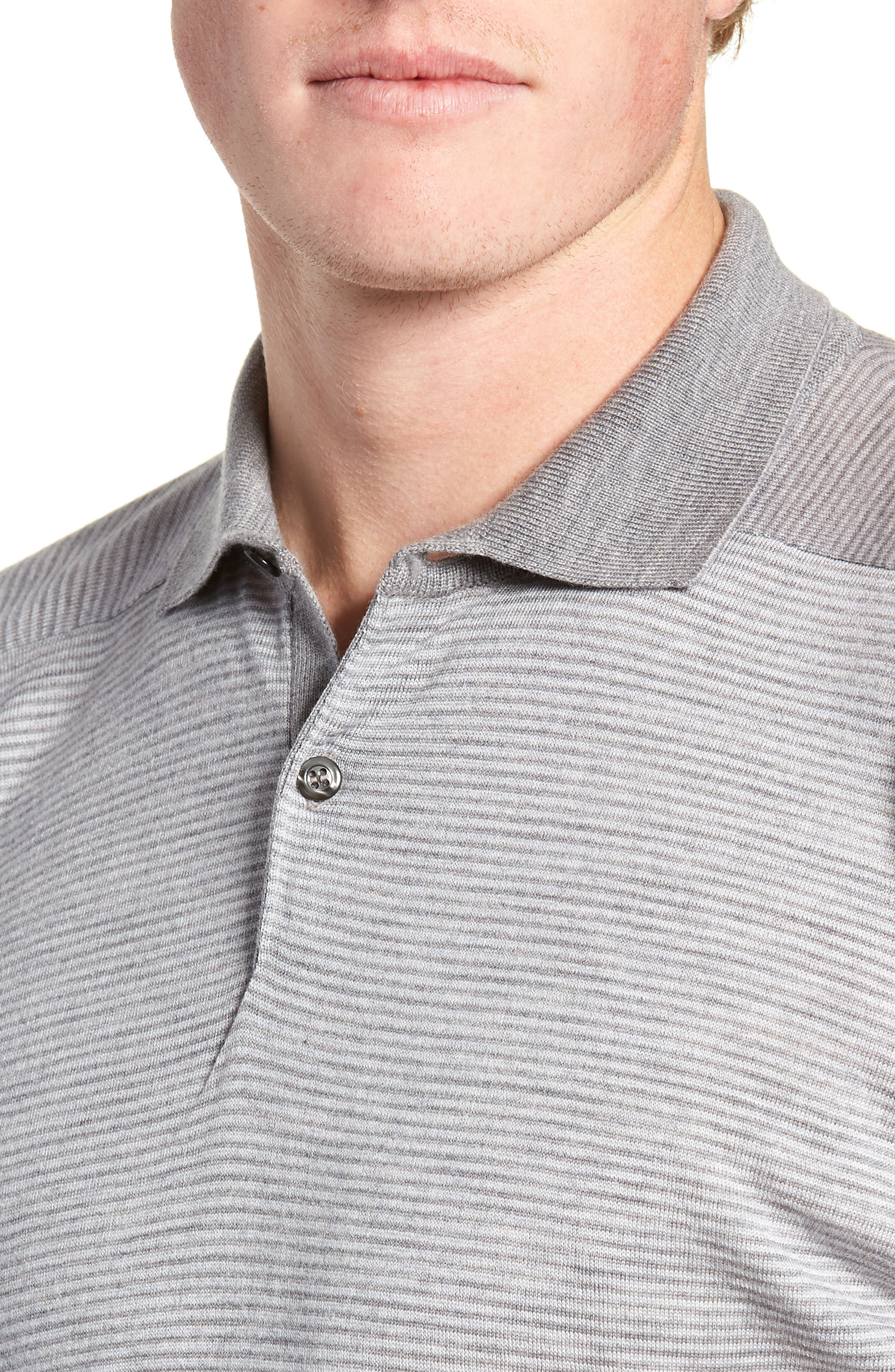 Slim Fit Long Sleeve Merino Wool Polo,                             Alternate thumbnail 4, color,                             020