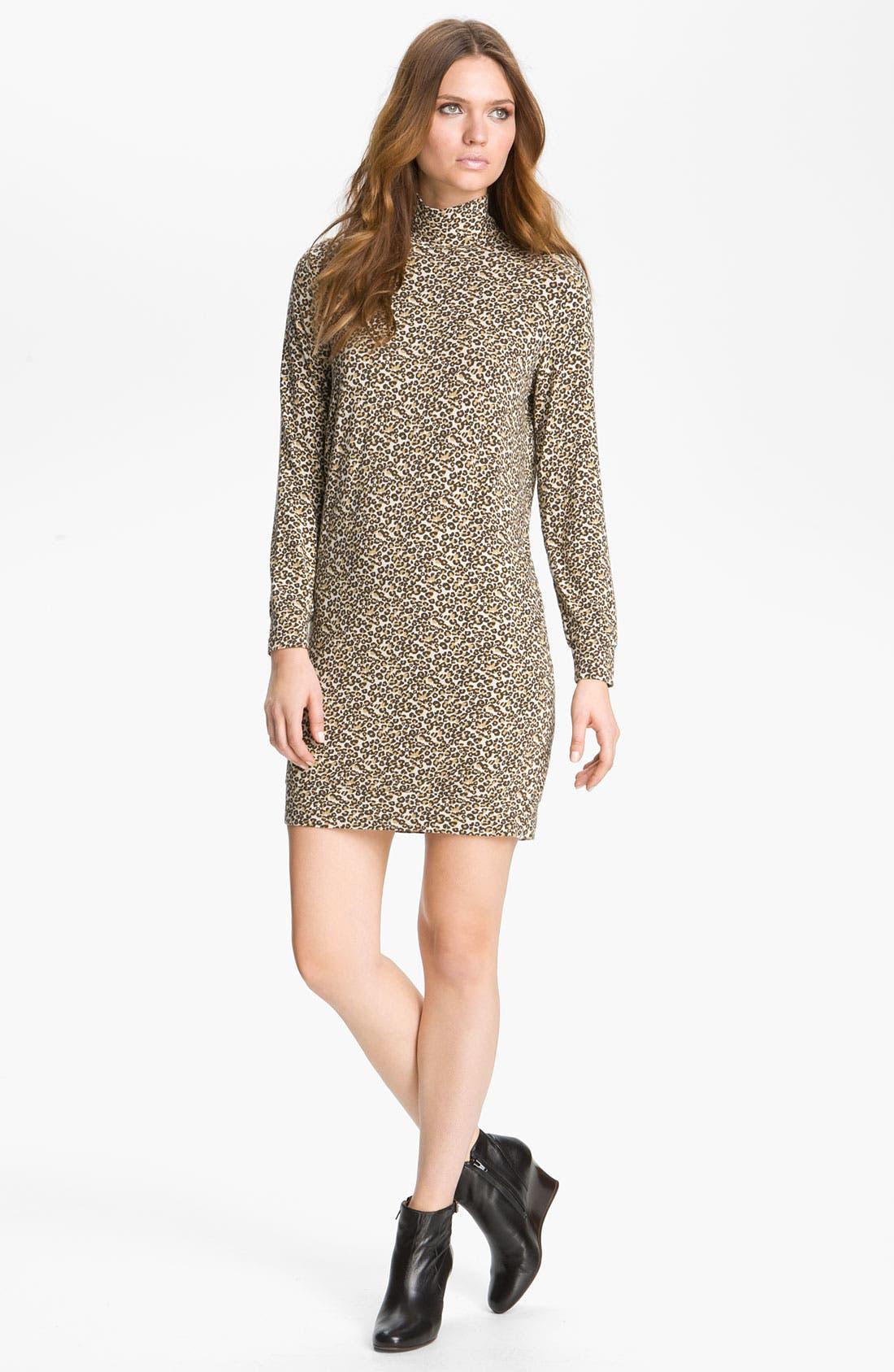 Leopard Print Turtleneck Dress,                             Main thumbnail 1, color,                             020