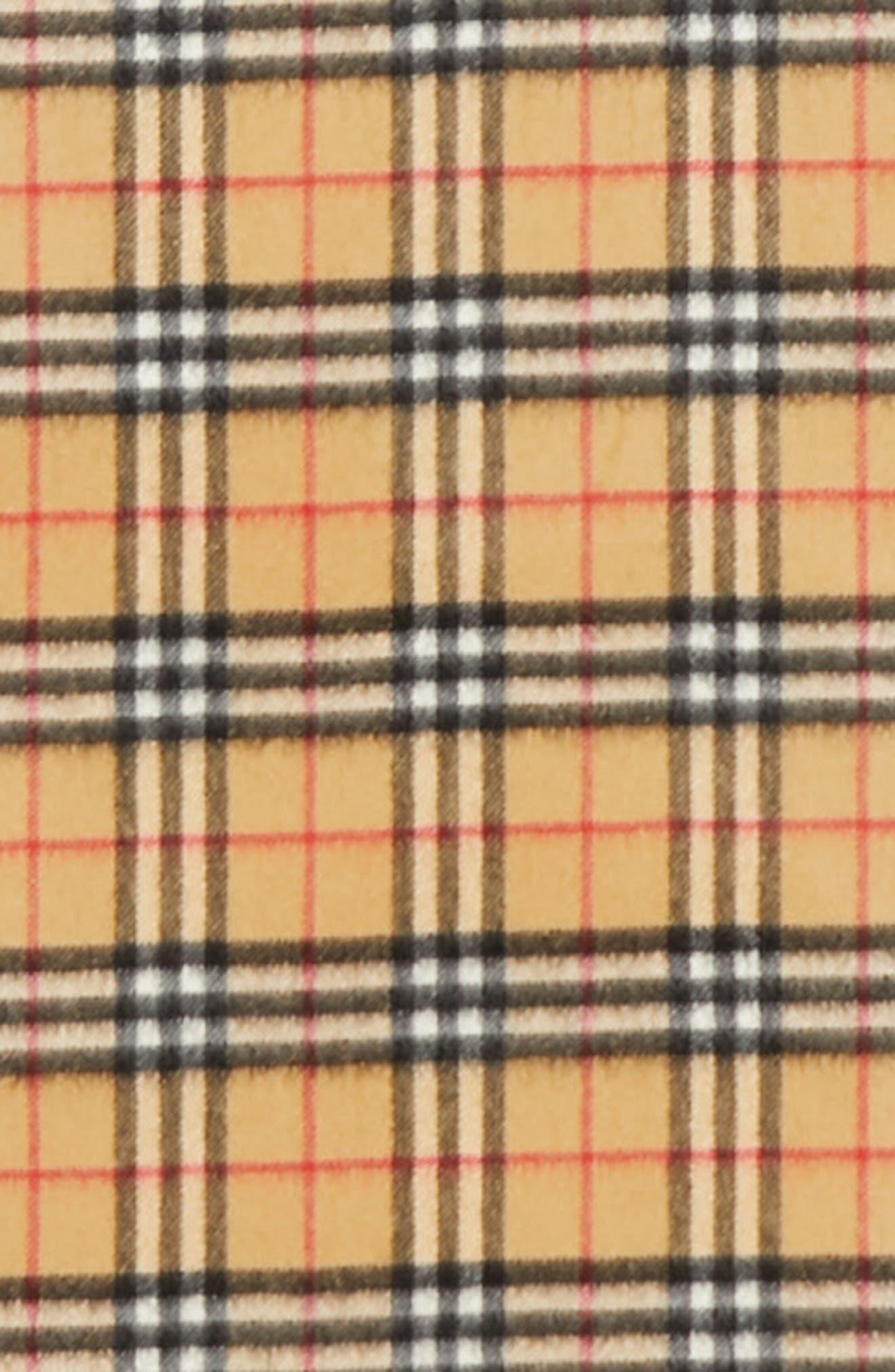 Vintage Check Cashmere Scarf,                             Alternate thumbnail 4, color,                             ANTIQUE YELLOW