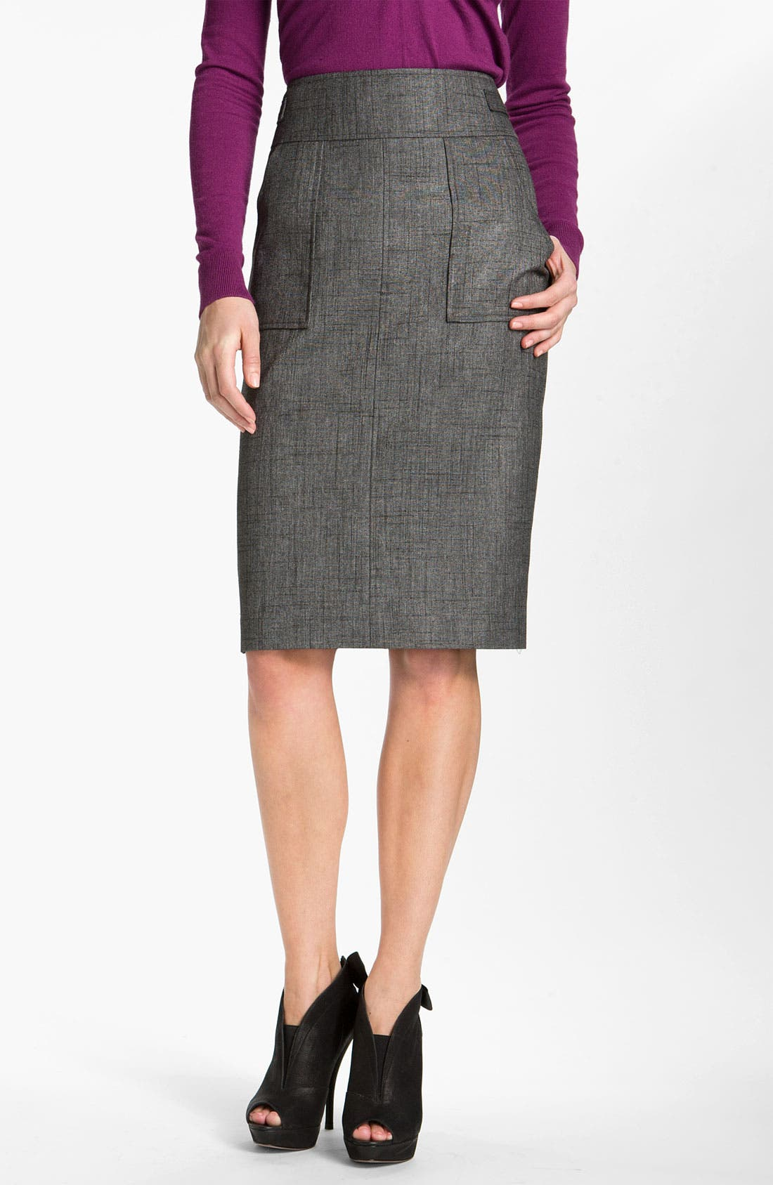 Patch Pocket Pencil Skirt,                             Main thumbnail 1, color,                             001