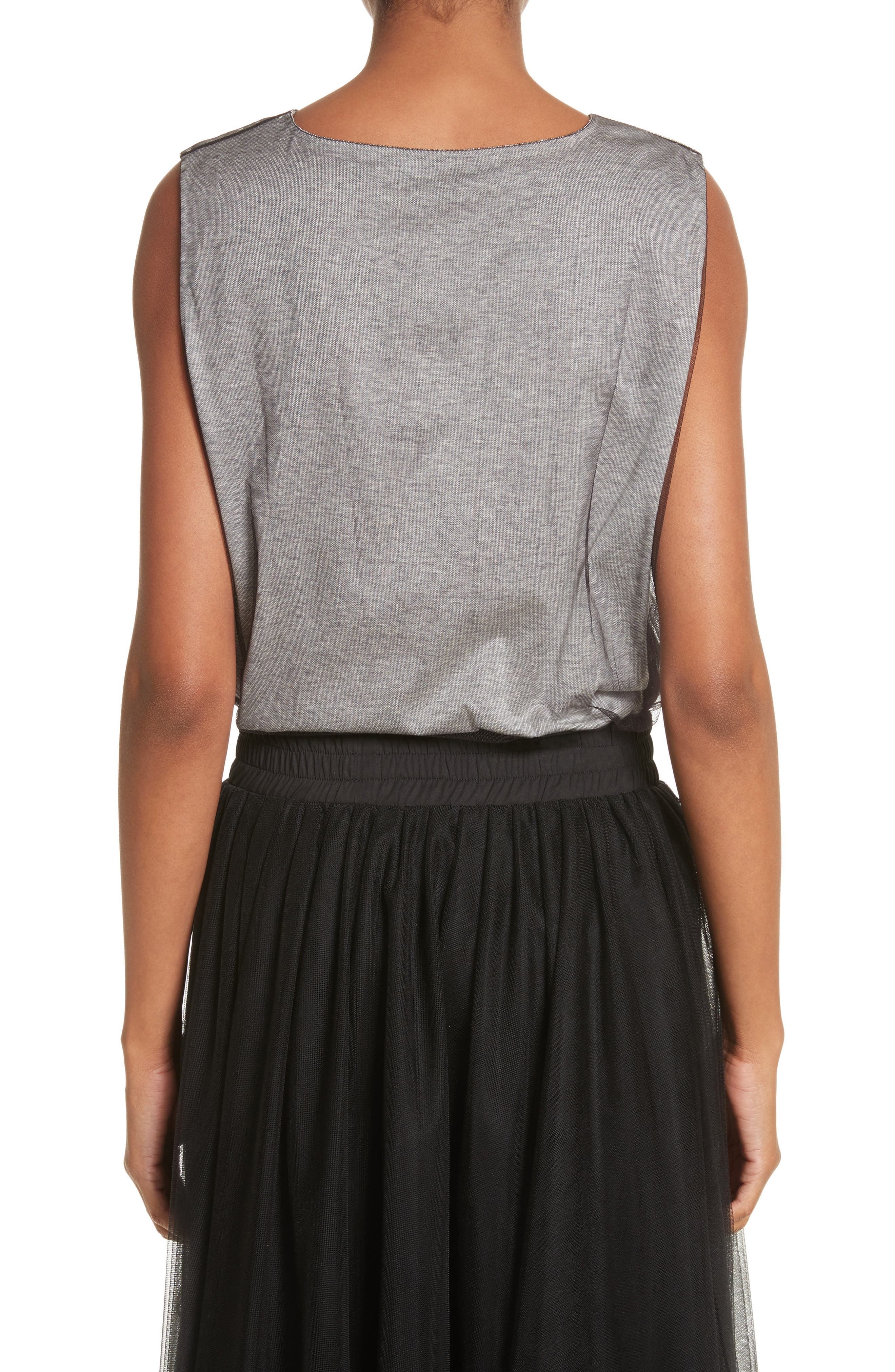 Tulle Overlay Jersey Tank,                             Alternate thumbnail 2, color,