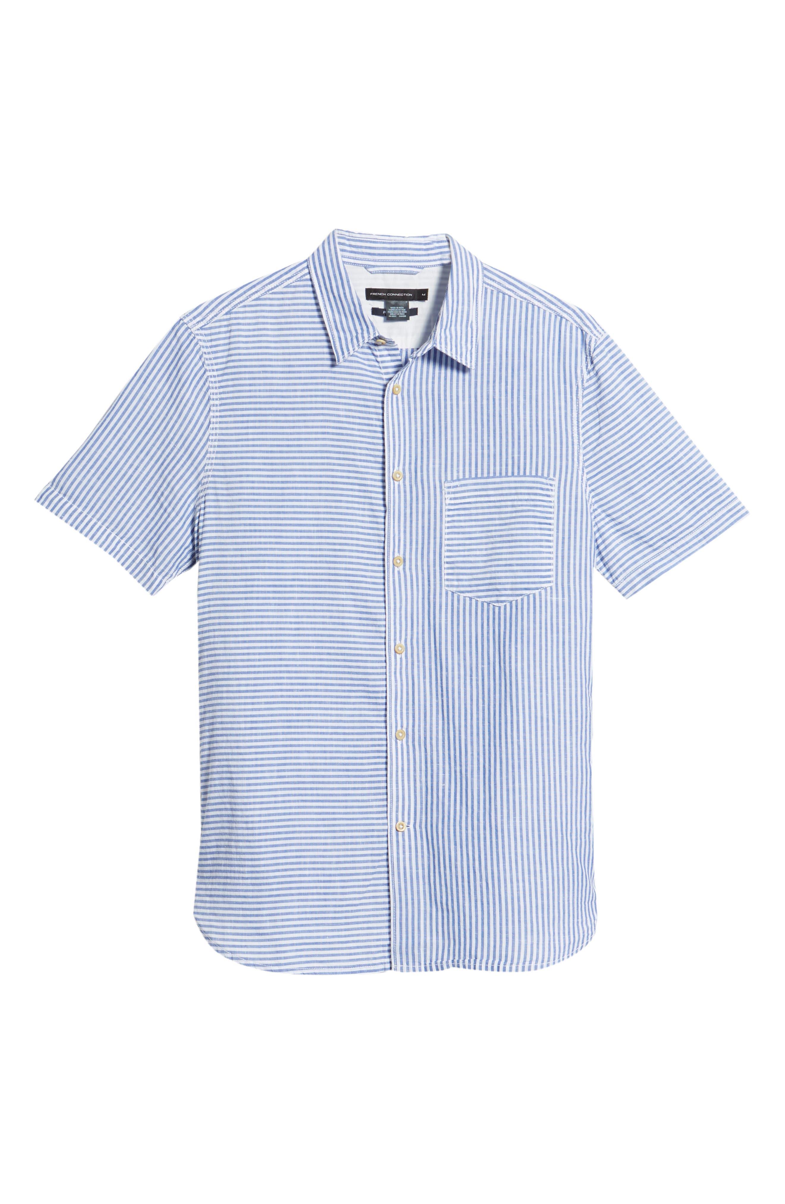 Stripe Chambray Cotton & Linen Sport Shirt,                             Alternate thumbnail 6, color,                             RICH BLUE
