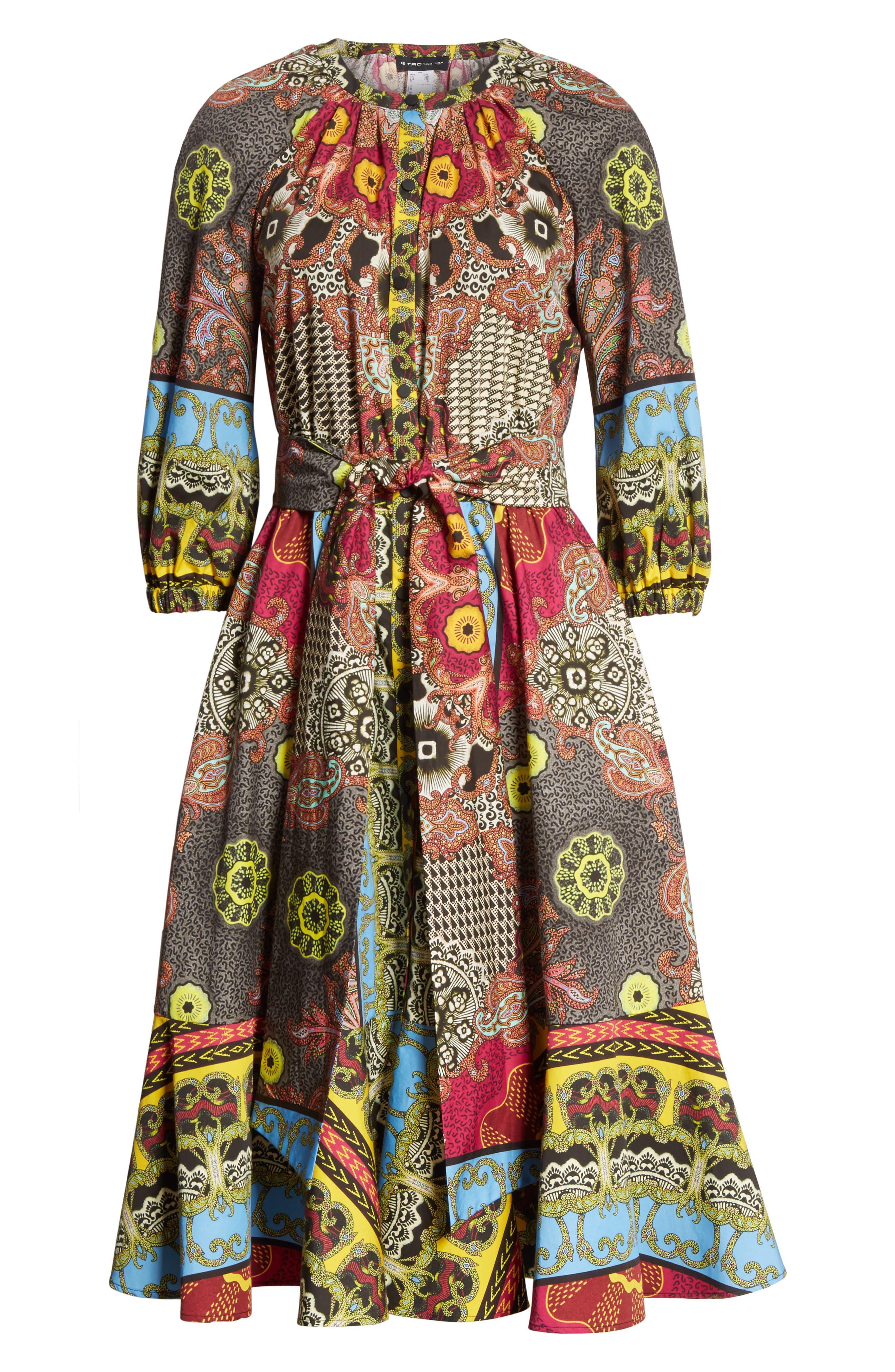 Jungle Paisley Print Cotton Dress,                             Alternate thumbnail 6, color,                             002