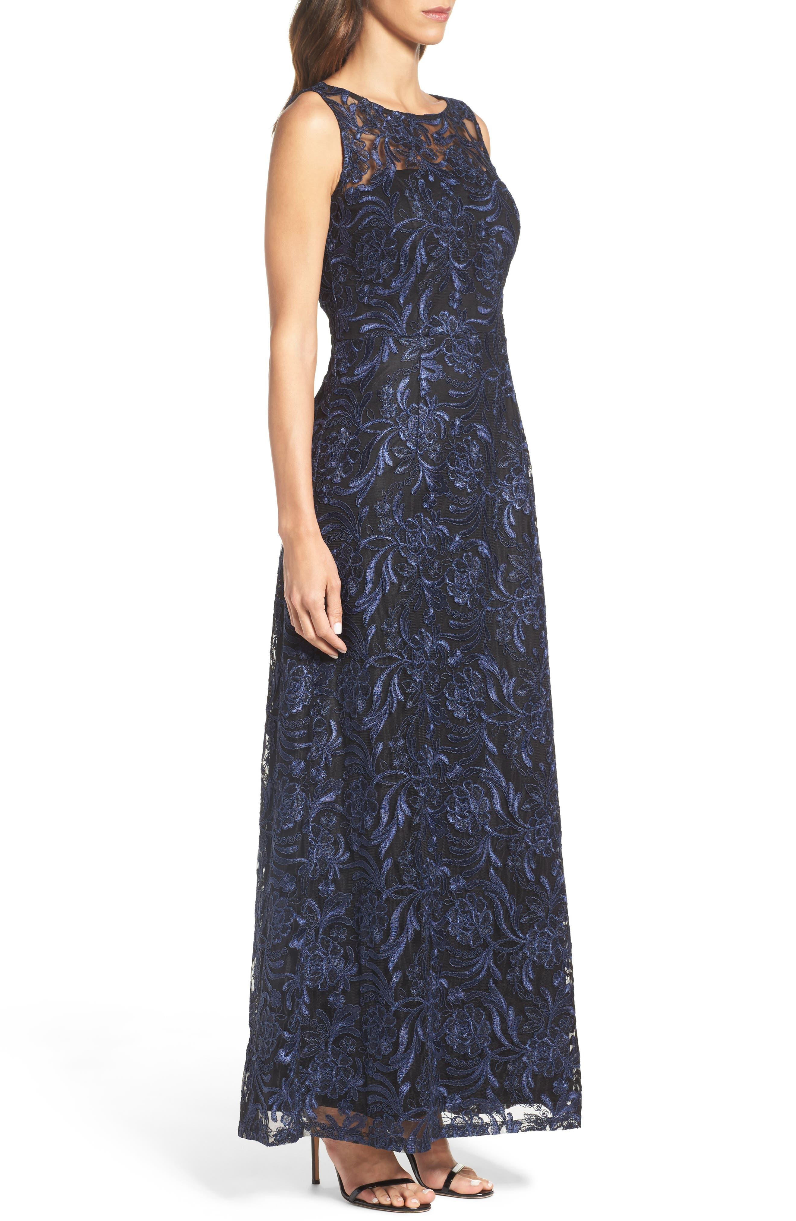 Corded Mesh Gown,                             Alternate thumbnail 3, color,