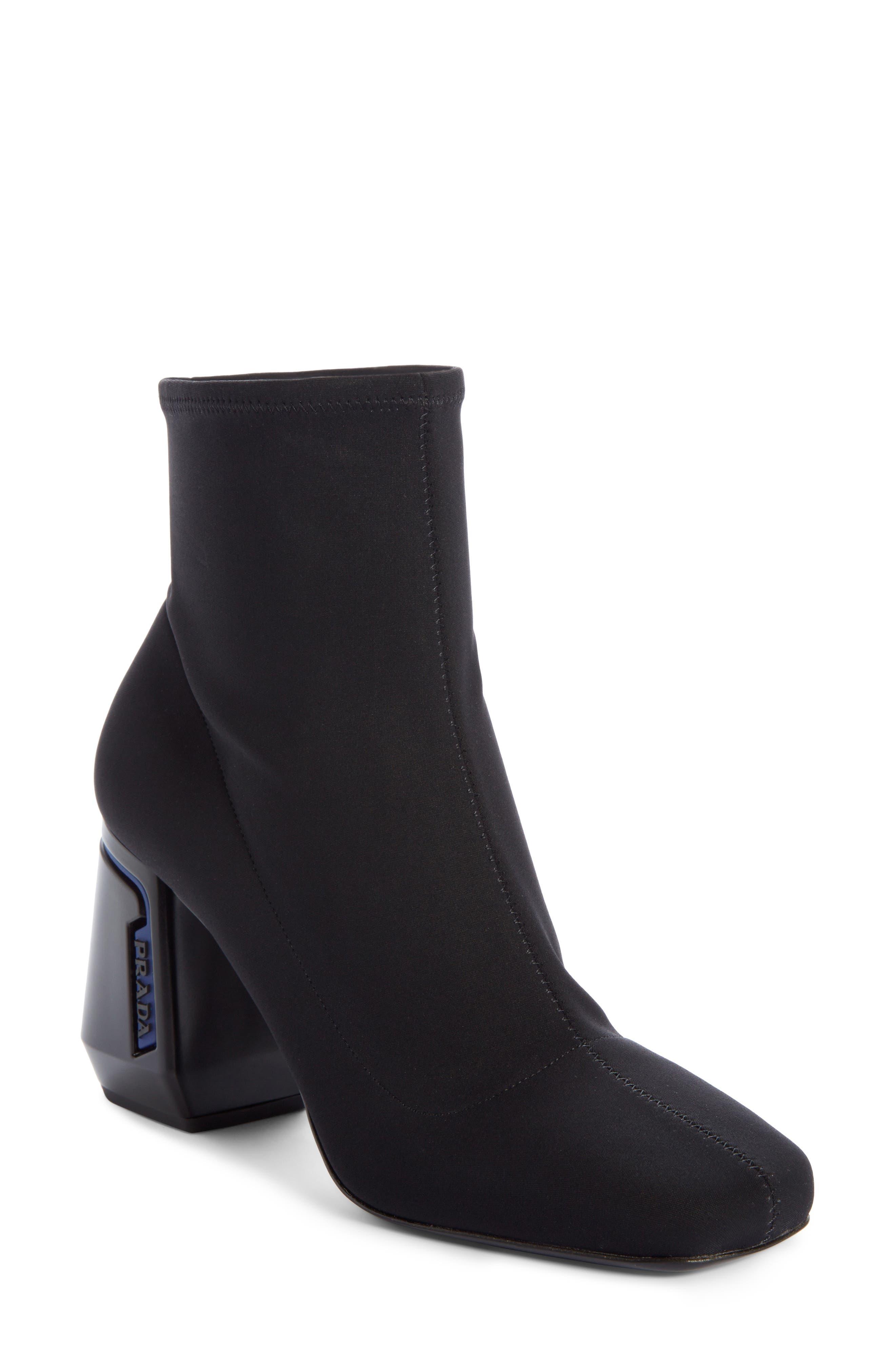 Block Heel Stretch Bootie,                         Main,                         color, BLACK