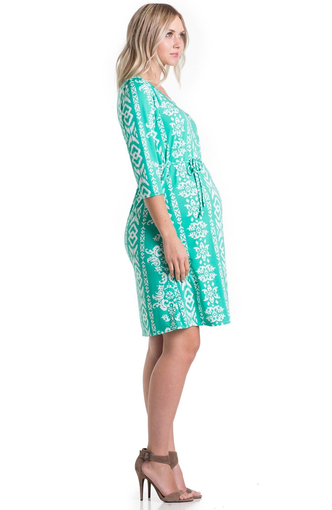 Print Maternity Dress,                             Alternate thumbnail 7, color,