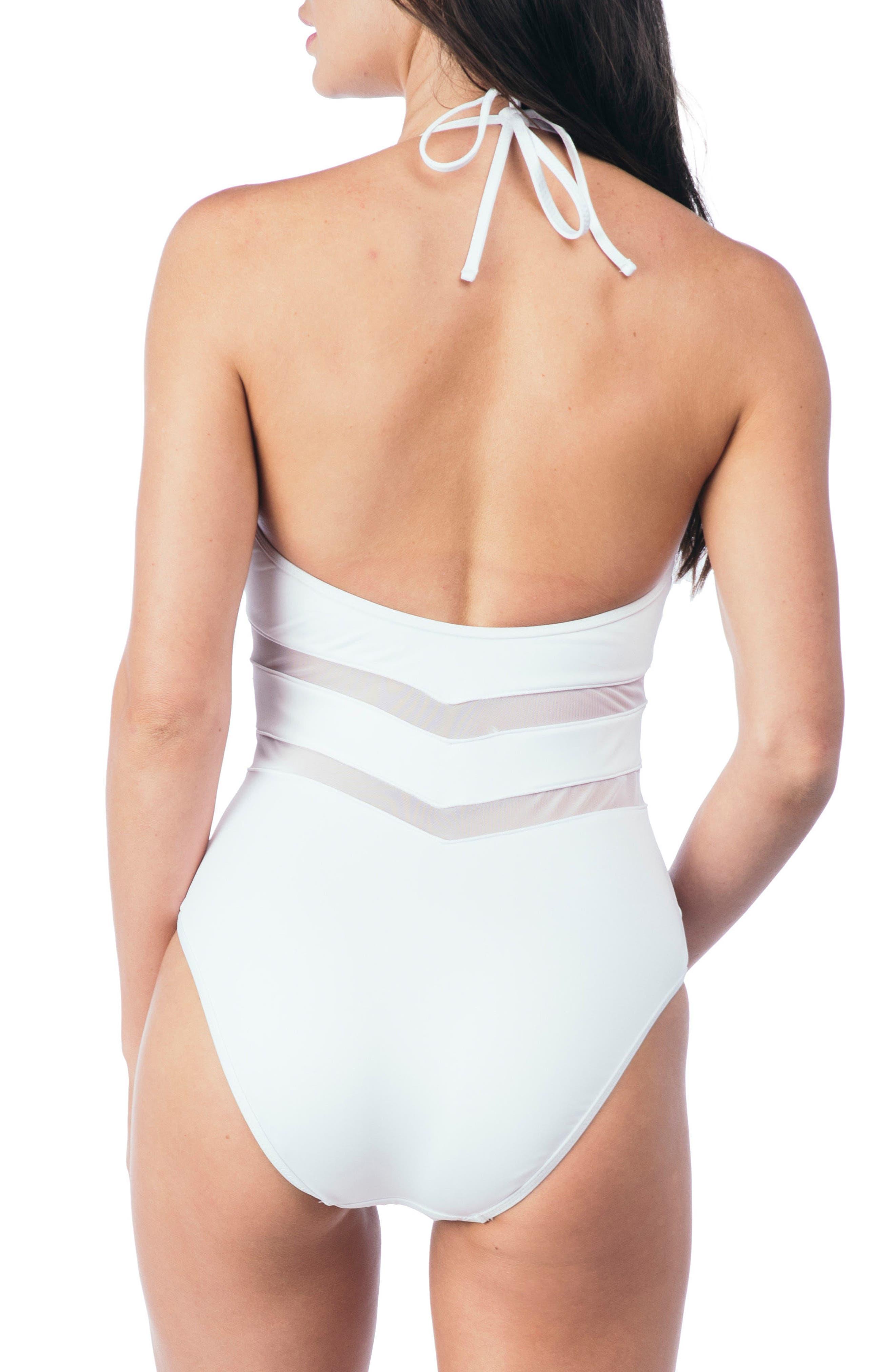 Mesh One-Piece Swimsuit,                             Alternate thumbnail 2, color,                             WHITE