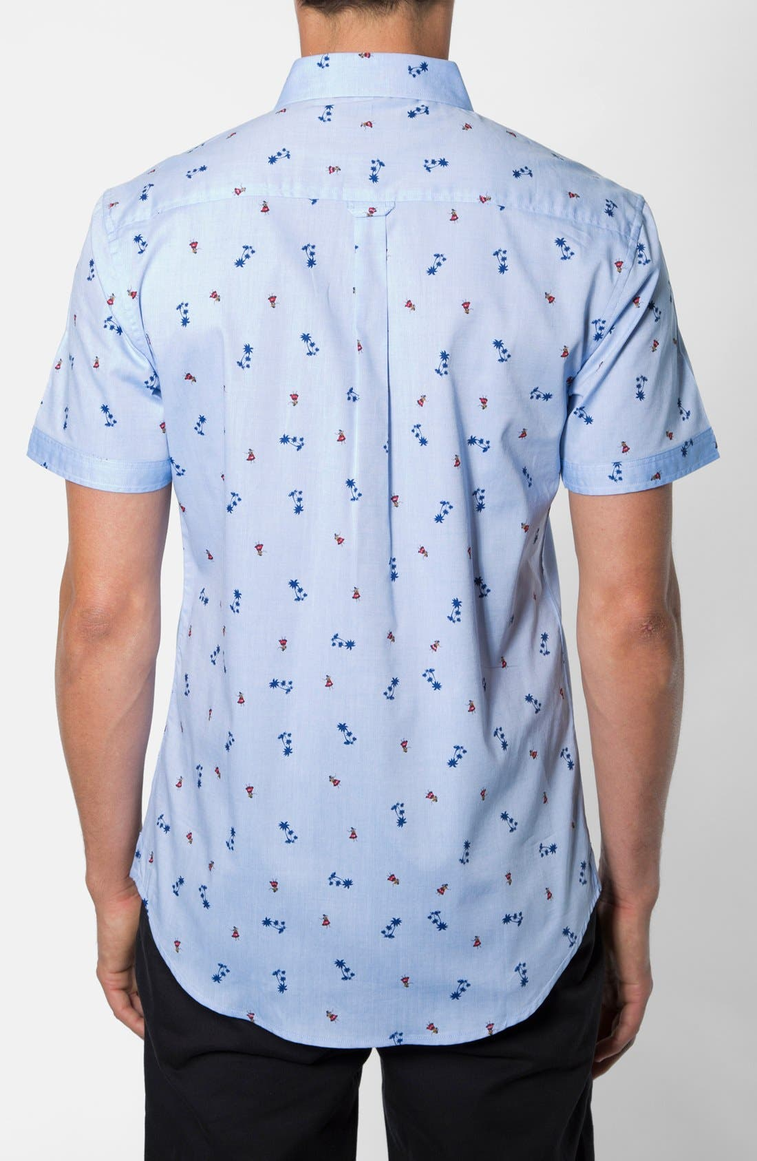 'California Sway' Trim Fit Short Sleeve Print Woven Shirt,                             Alternate thumbnail 2, color,                             451