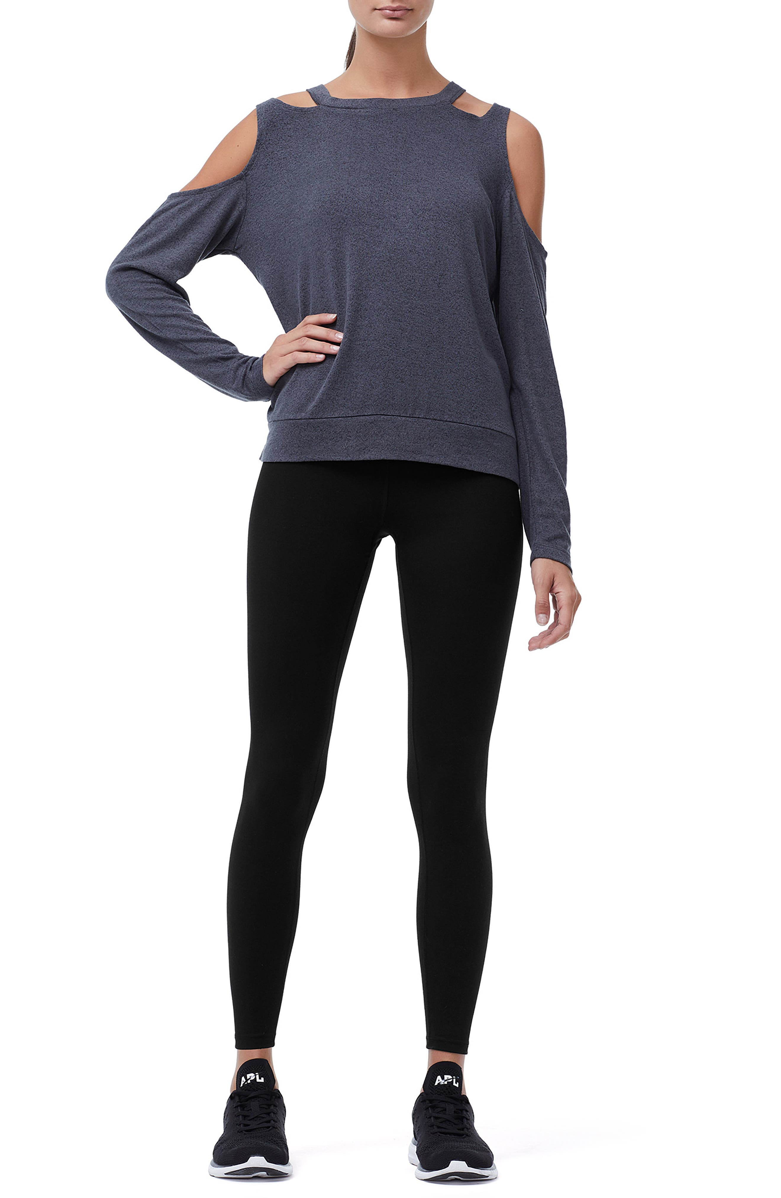 Cold Shoulder Tee,                             Alternate thumbnail 7, color,                             CHARCOAL001