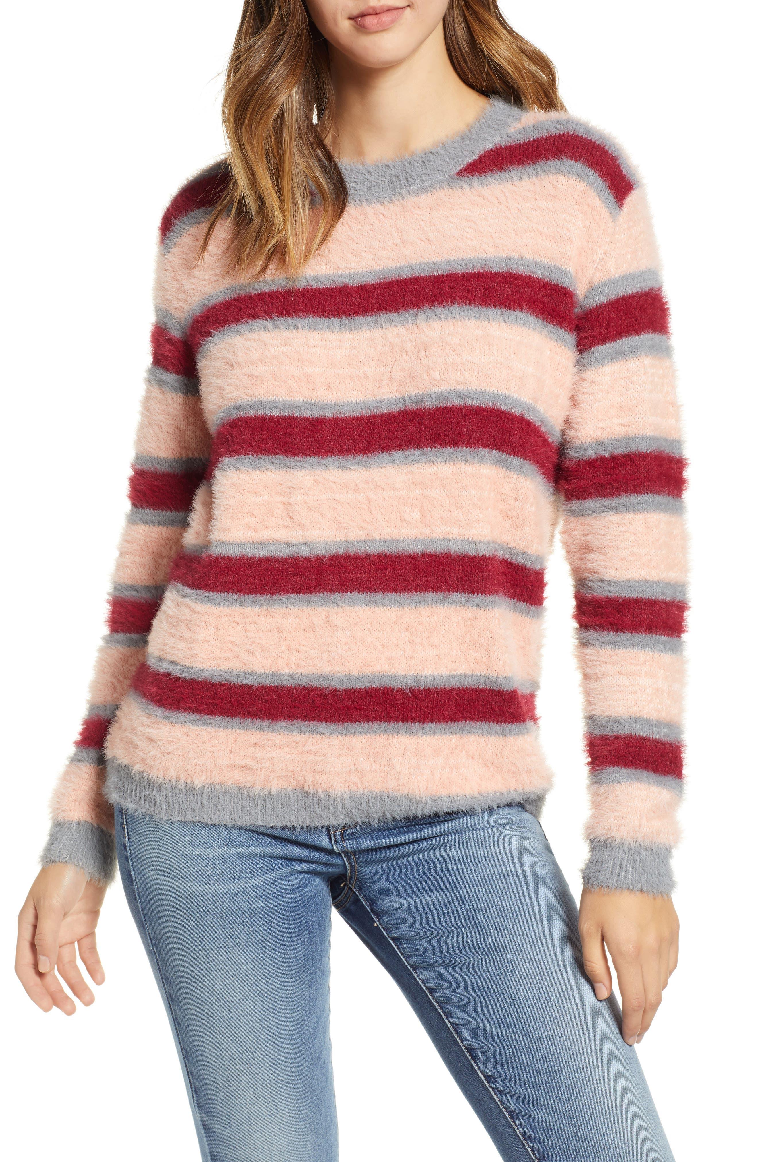 Stripe Eyelash Sweater, Main, color, 650