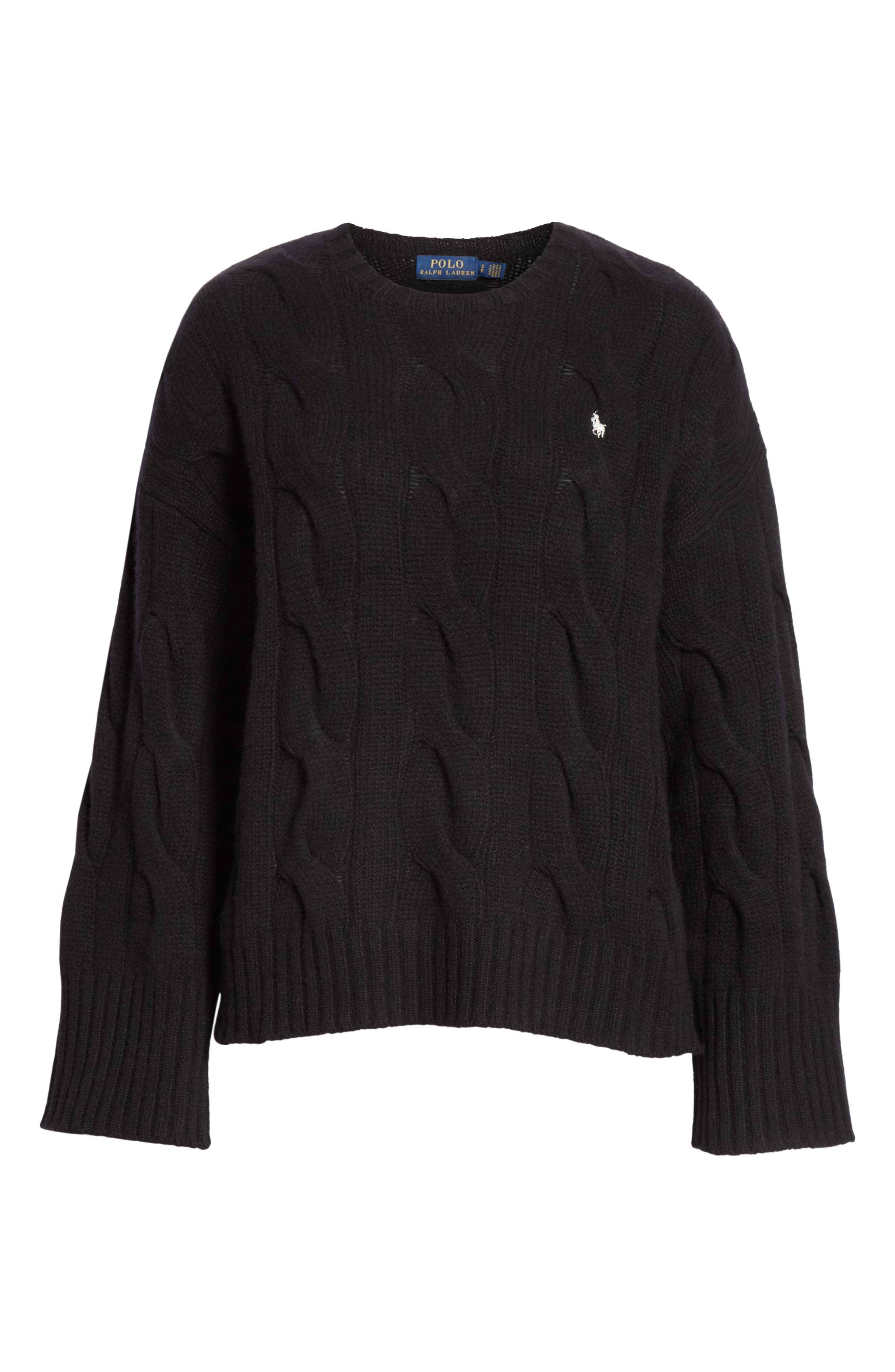 Dolman Sleeve Cable Knit Sweater,                             Alternate thumbnail 6, color,                             POLO BLACK