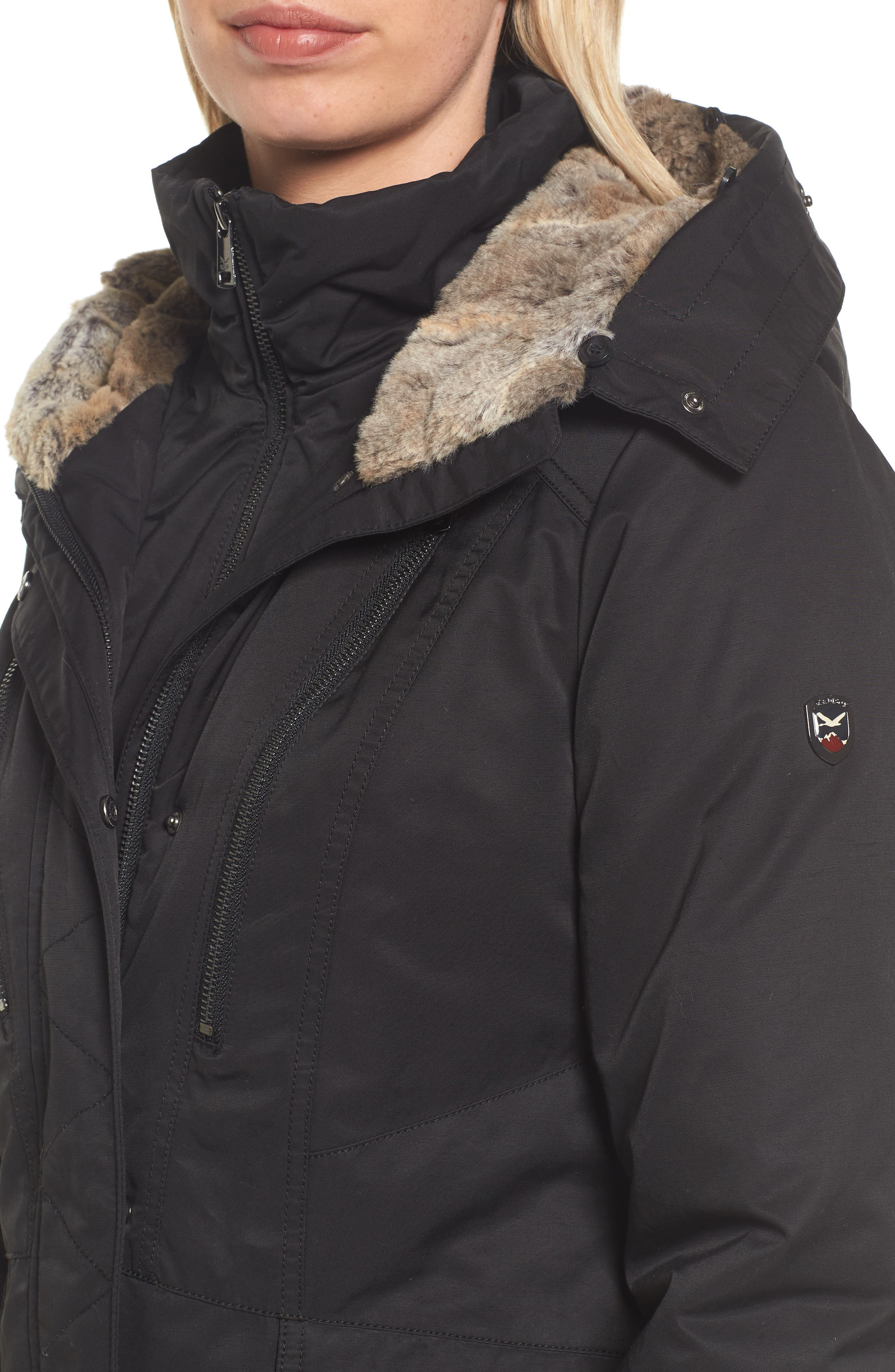 Insulated Parka with Faux Fur Trim,                             Alternate thumbnail 4, color,                             001