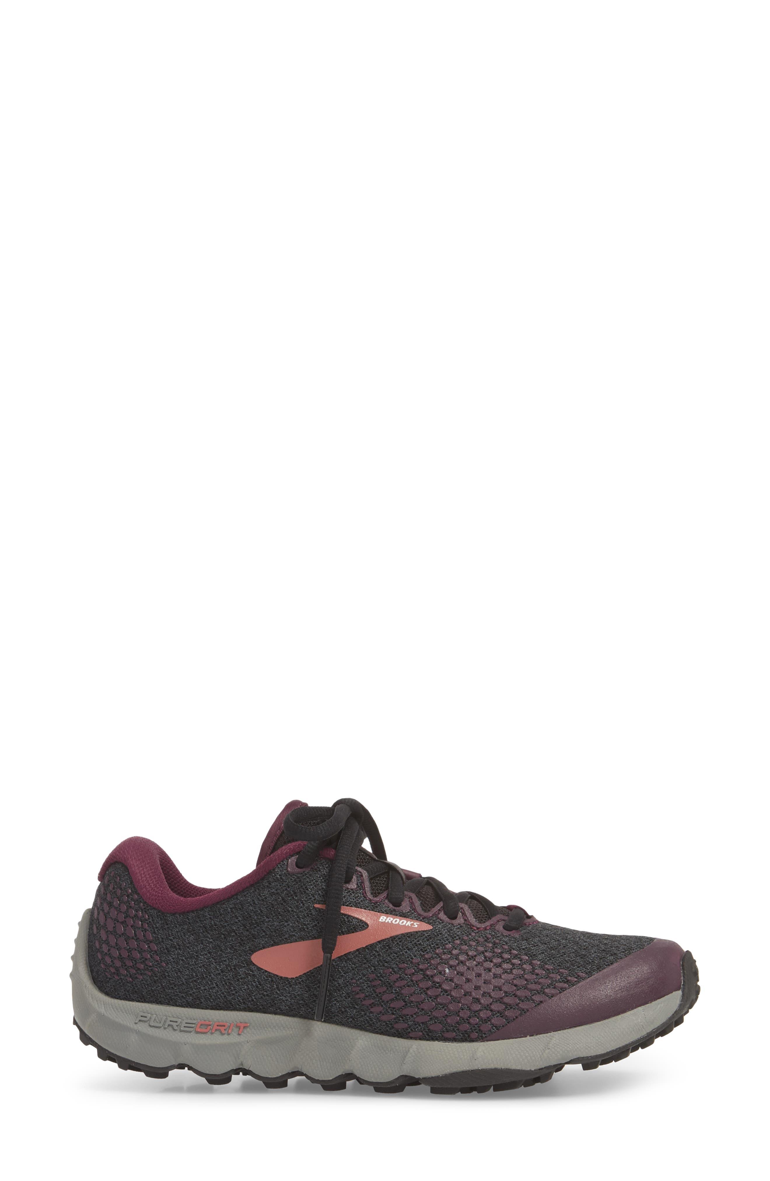 PureGrit 7 Trail Running Shoe,                             Alternate thumbnail 3, color,                             BLACK/ PURPLE/ GREY