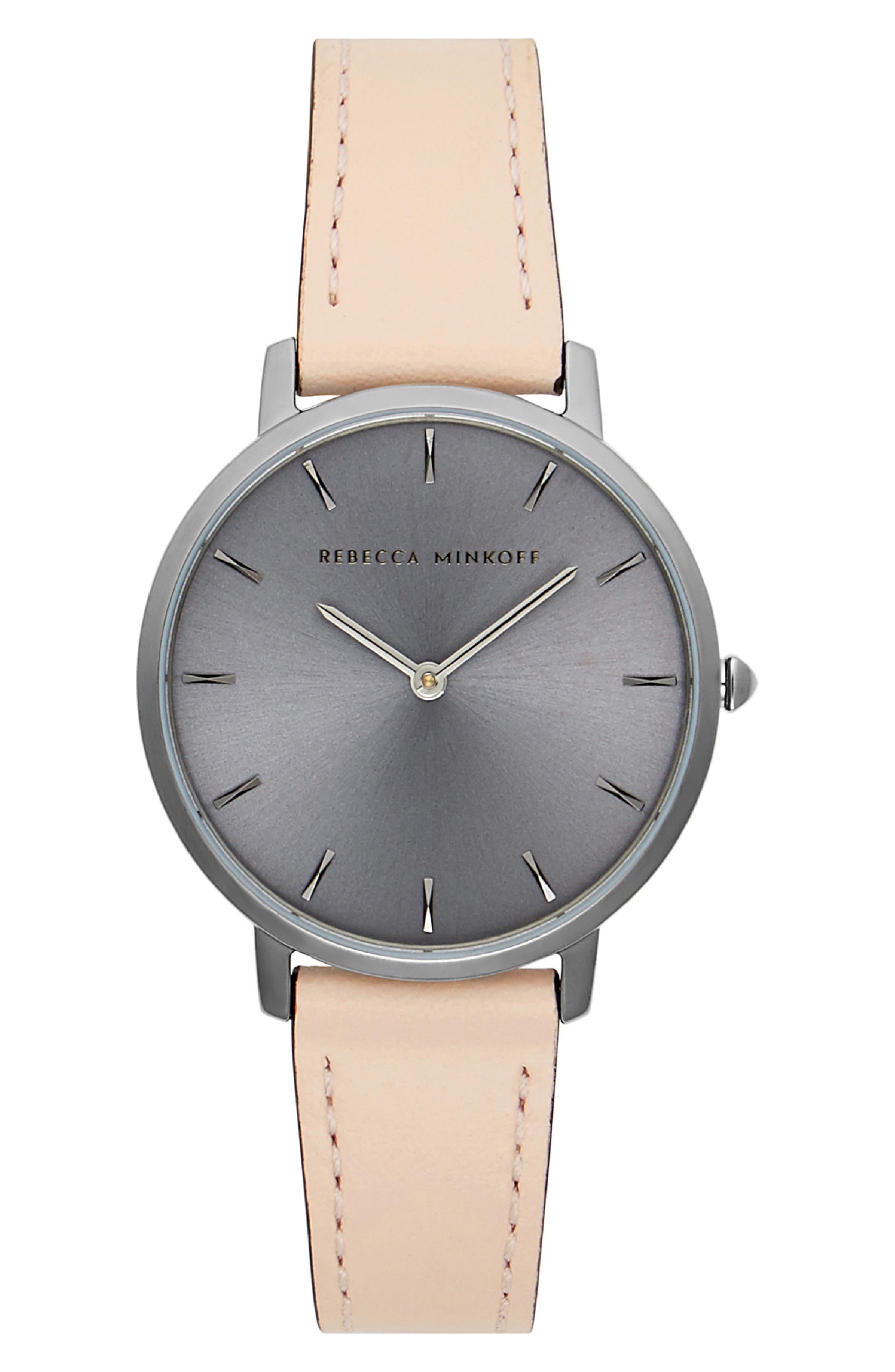 REBECCA MINKOFF,                             Major Leather Strap Watch, 35mm,                             Main thumbnail 1, color,                             BLUSH/ GREY