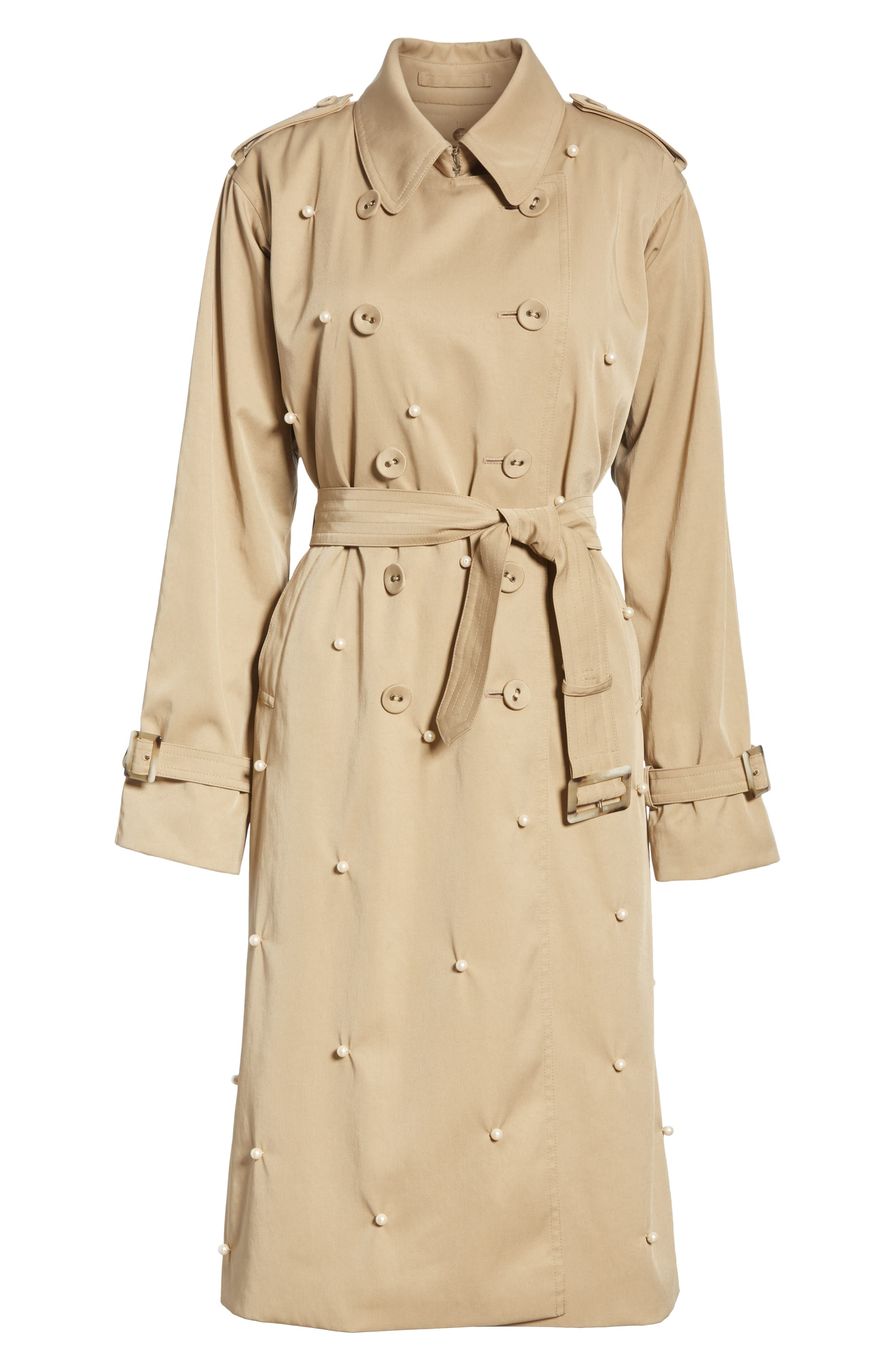 Imitation Pearl Embellished Trench Coat,                             Alternate thumbnail 6, color,                             BEIGE BEIG