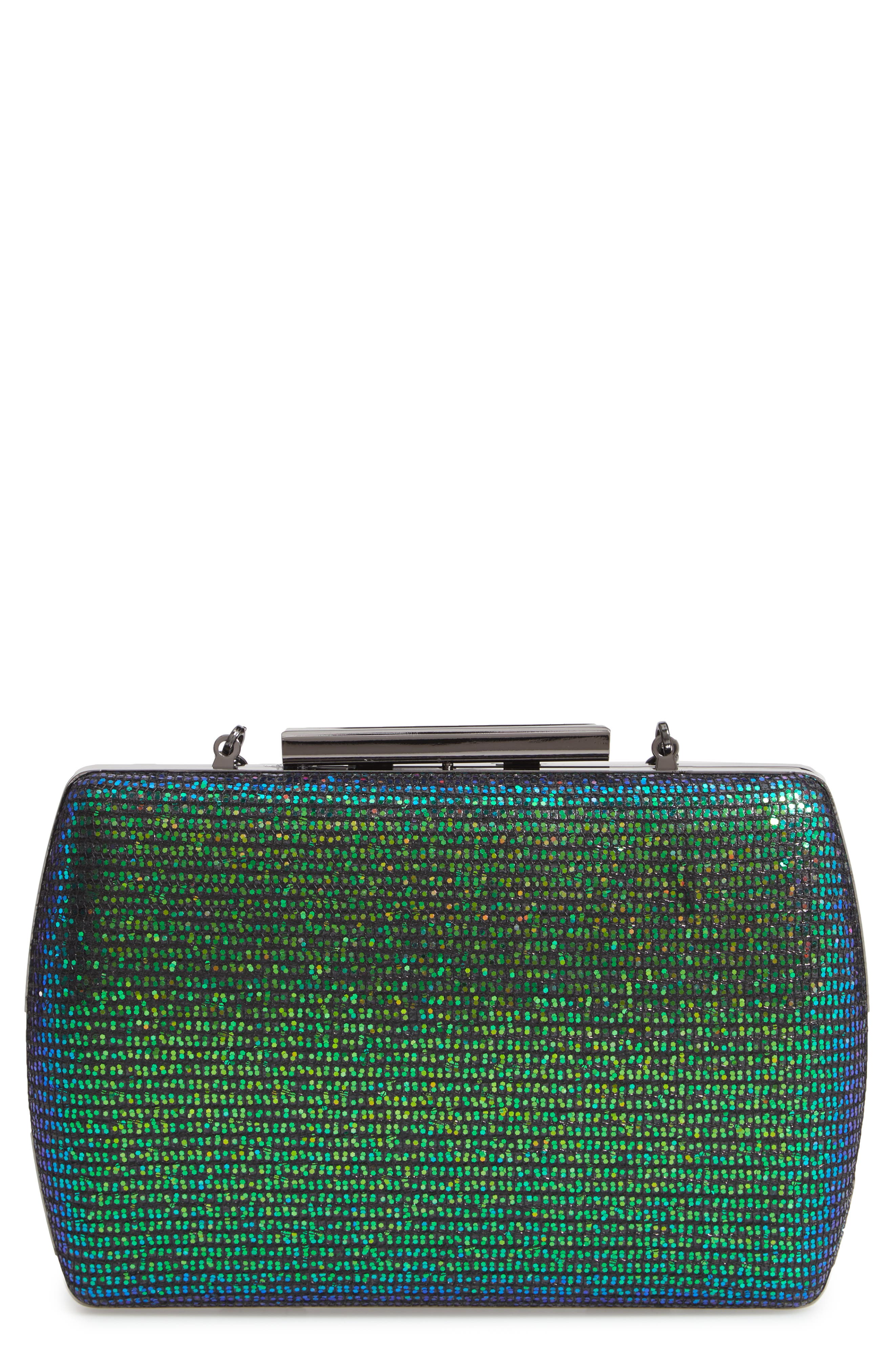 Glitter Minaudière,                             Main thumbnail 1, color,                             BLUE GREEN