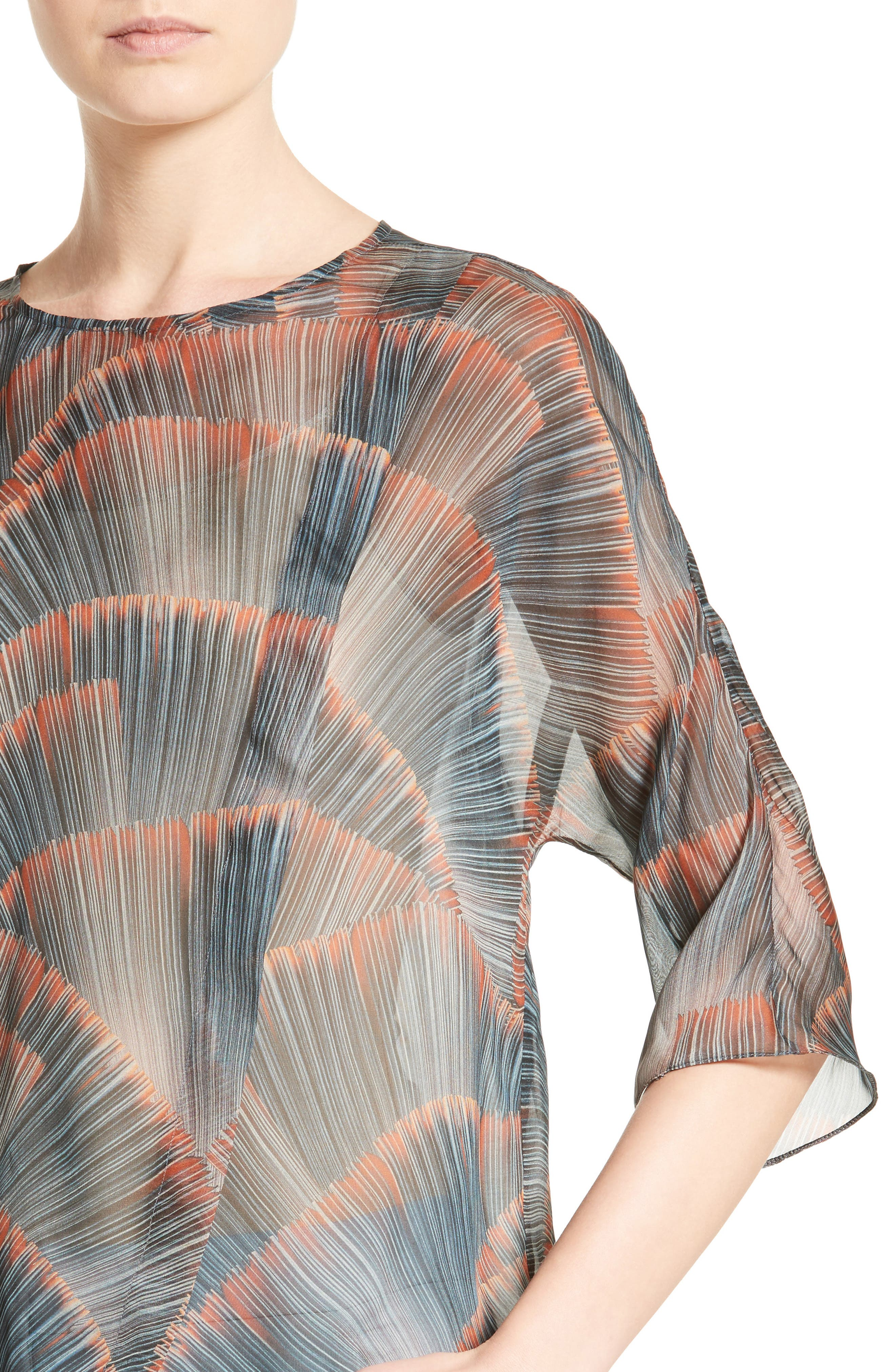 Feather Print Mulberry Silk Blouse,                             Alternate thumbnail 4, color,