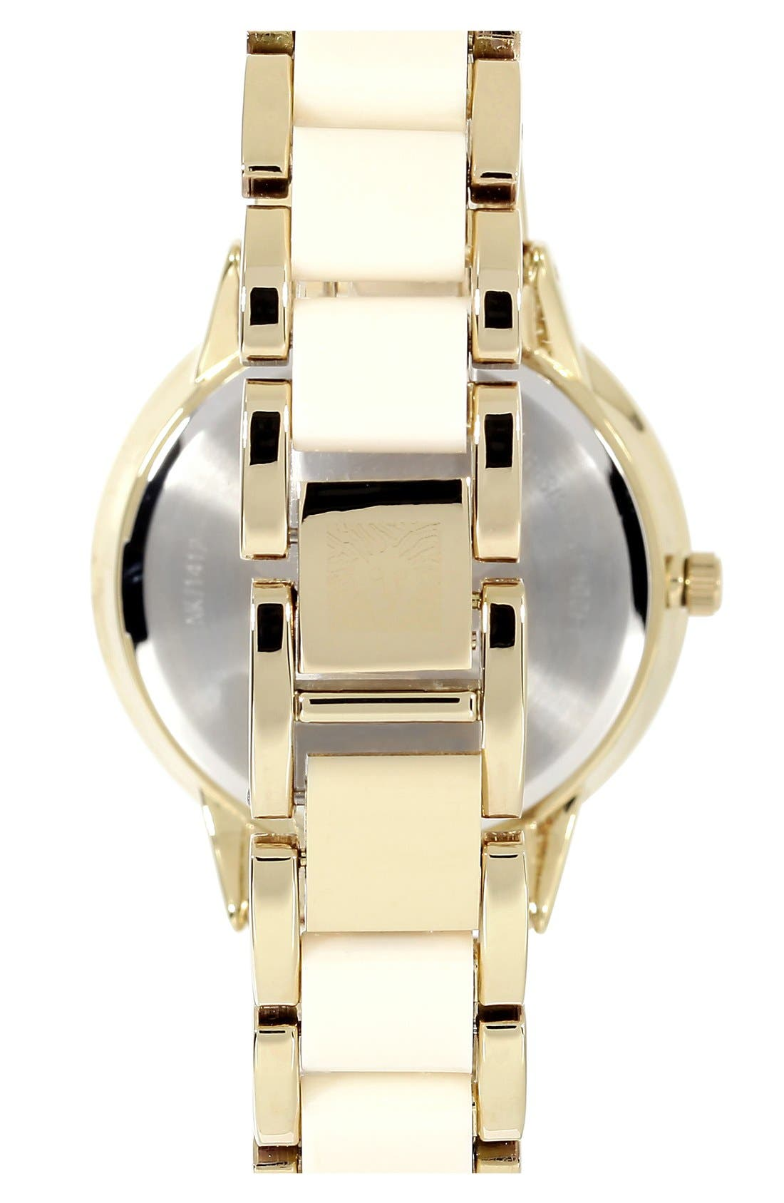 Round Bracelet Watch, 43mm,                             Alternate thumbnail 5, color,                             IVORY/ GOLD
