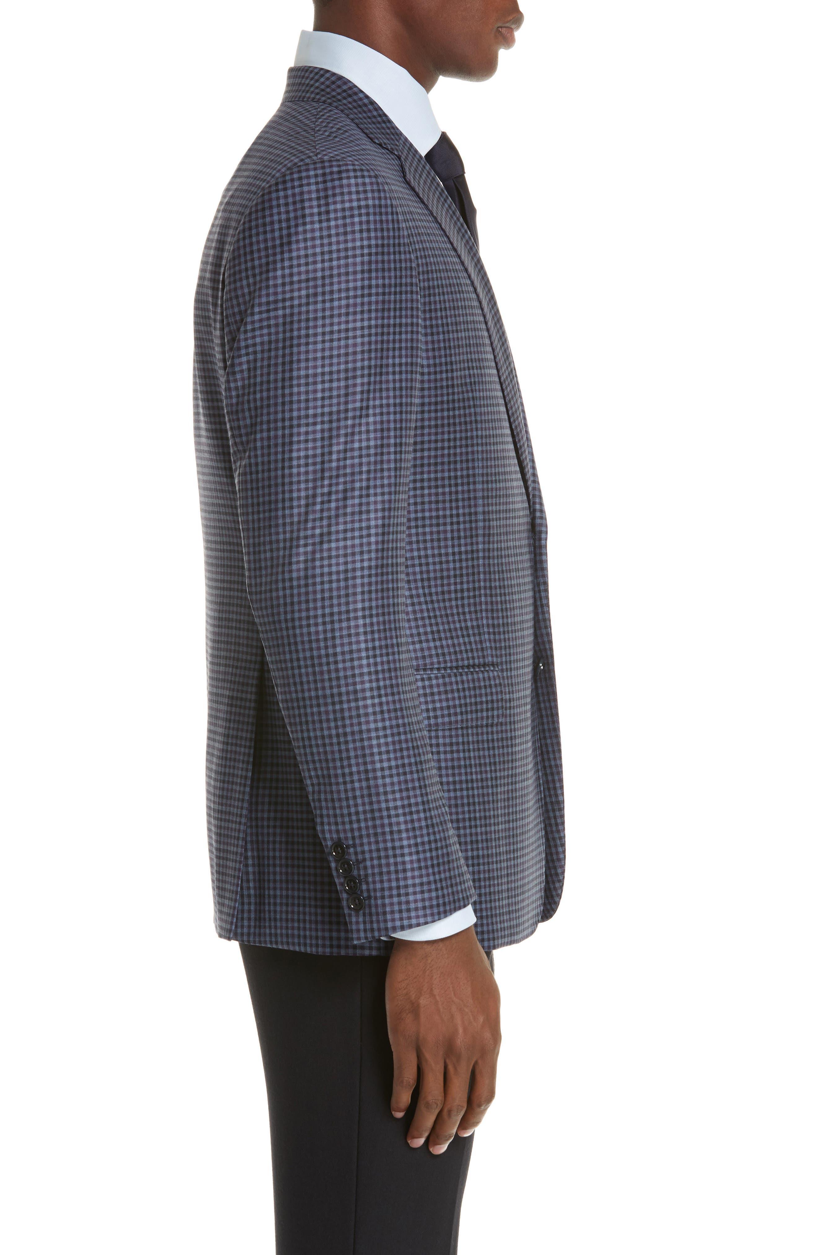 G Line Trim Fit Check Wool Sport Coat,                             Alternate thumbnail 3, color,                             PURPLE