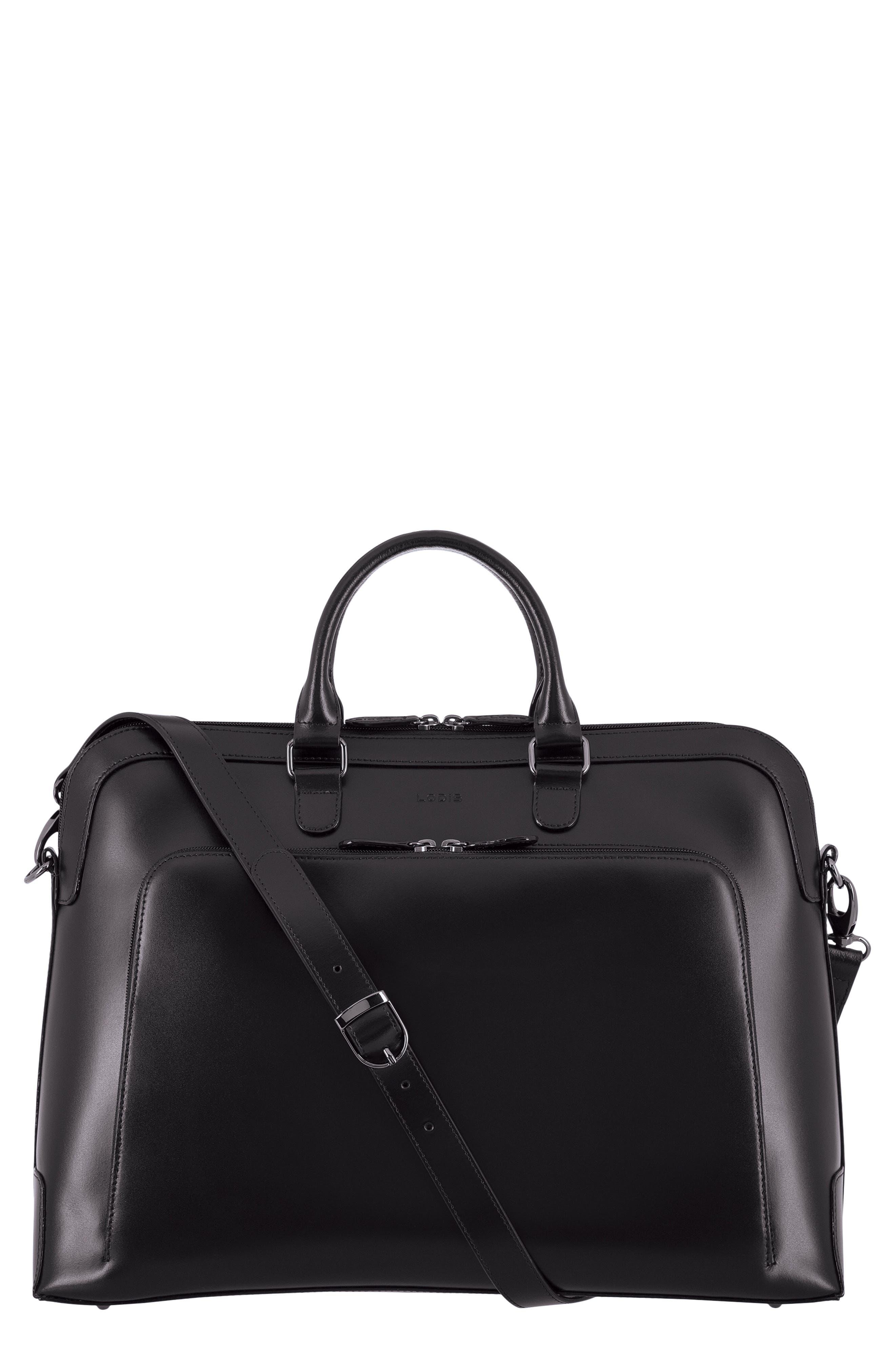 Audrey Under Lock & Key - Brera RFID Leather Briefcase,                             Main thumbnail 1, color,                             BLACK/ BLACK