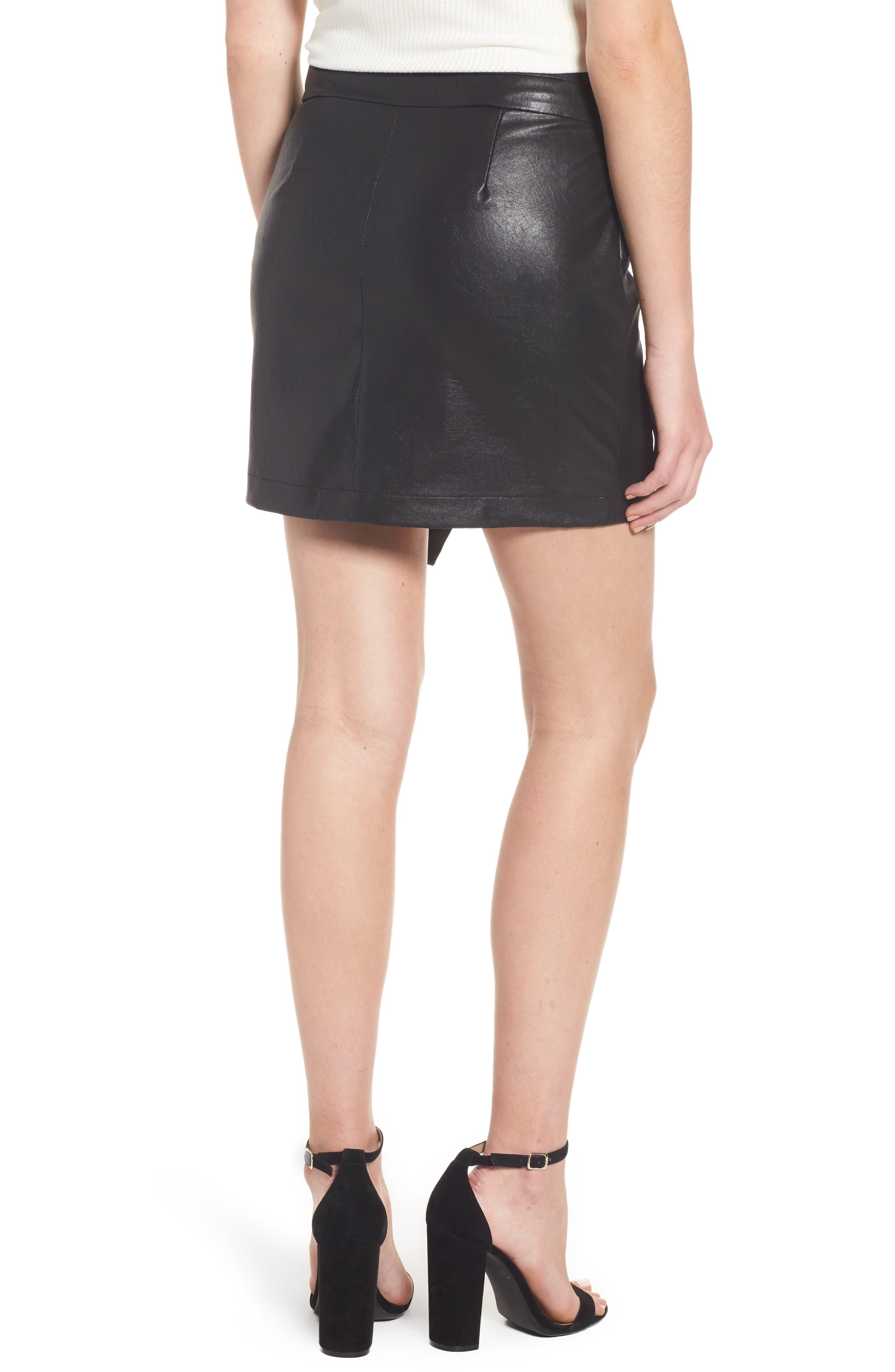Faux Leather Miniskirt,                             Alternate thumbnail 2, color,                             001