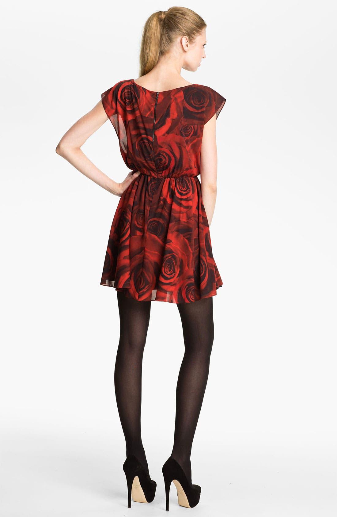 'Corwin' Rose Print Blouson Dress,                             Alternate thumbnail 3, color,                             605