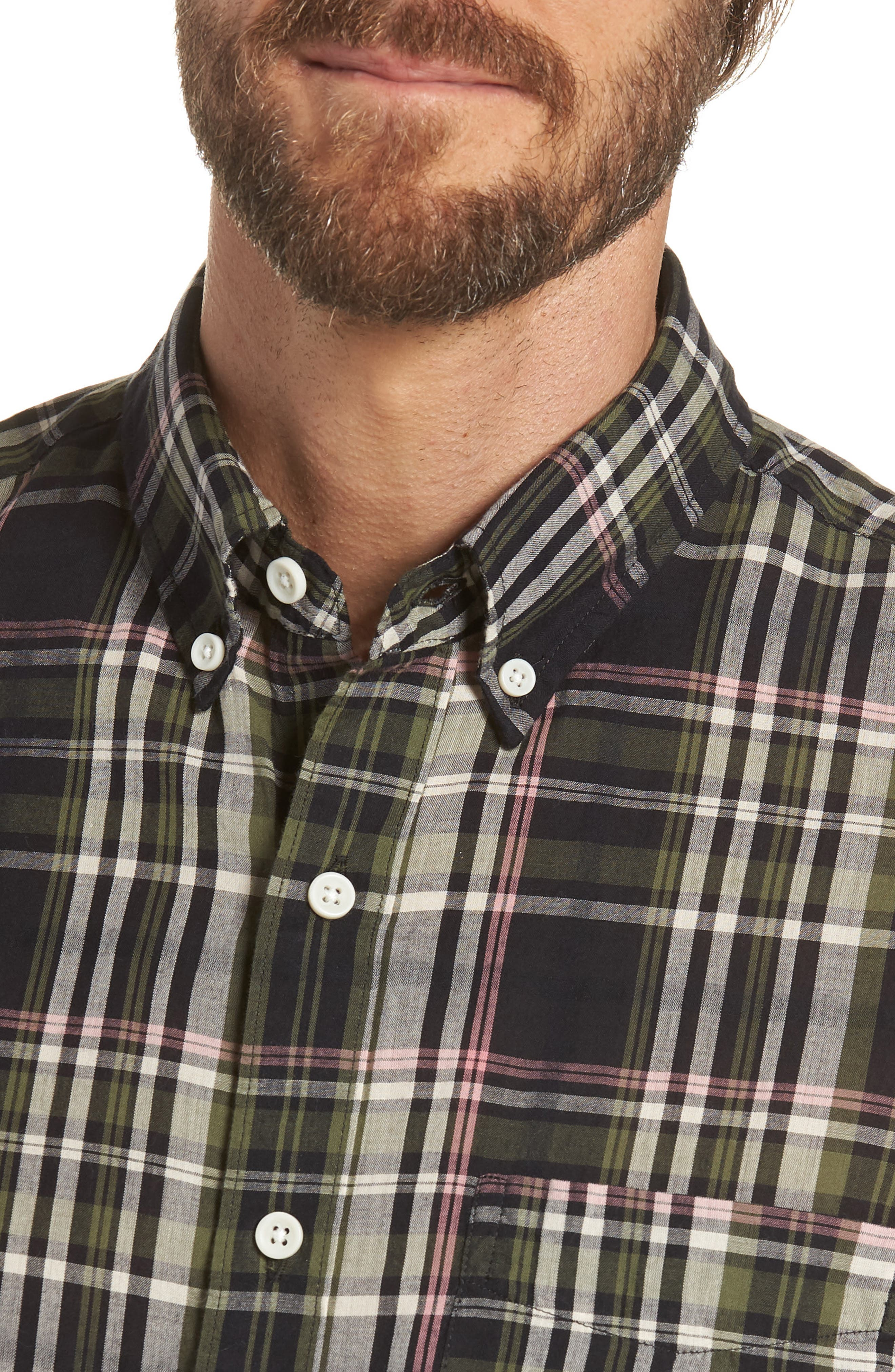 Jerome Slim Fit Plaid Sport Shirt,                             Alternate thumbnail 2, color,