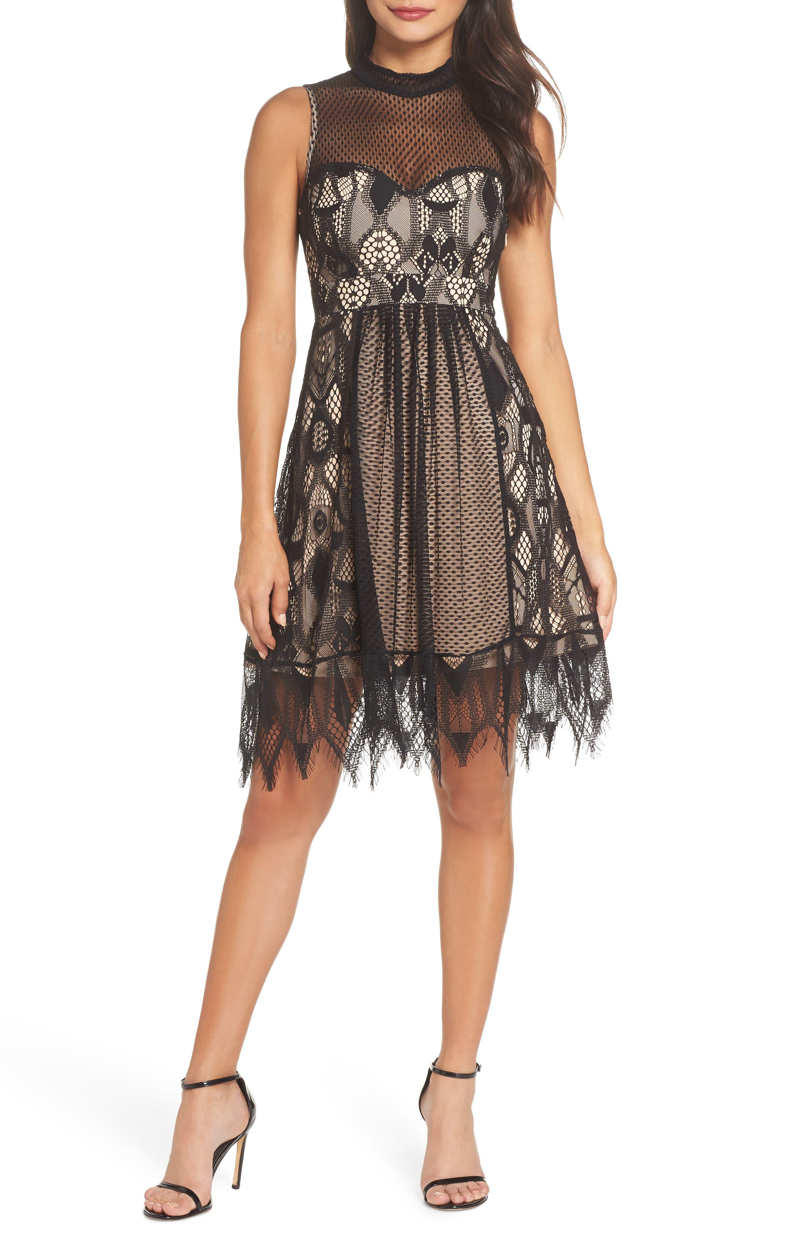 Gloria Fit & Flare Dress, Main, color, 001