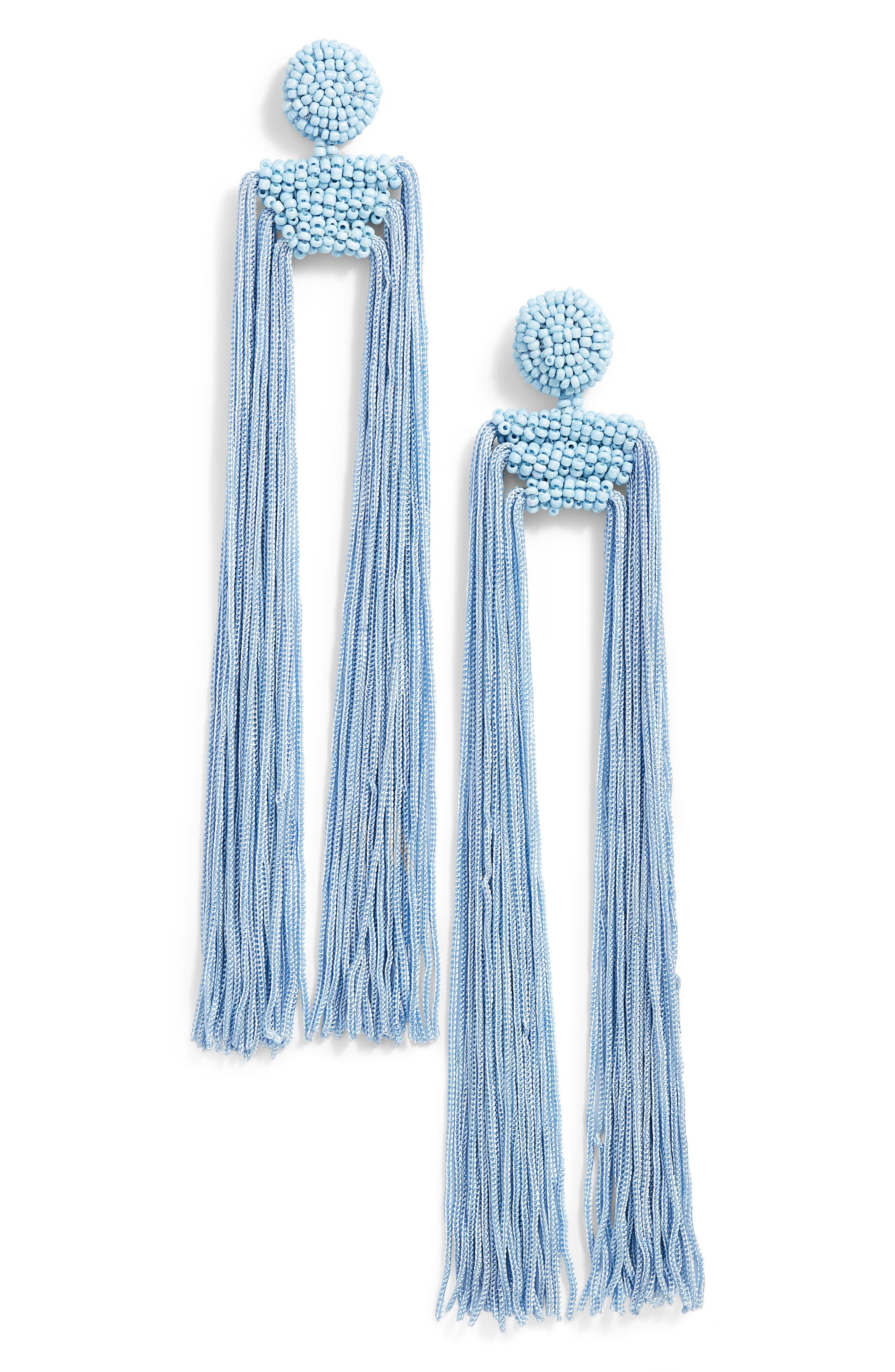 Tropicana Long Tassel Earrings,                             Main thumbnail 2, color,