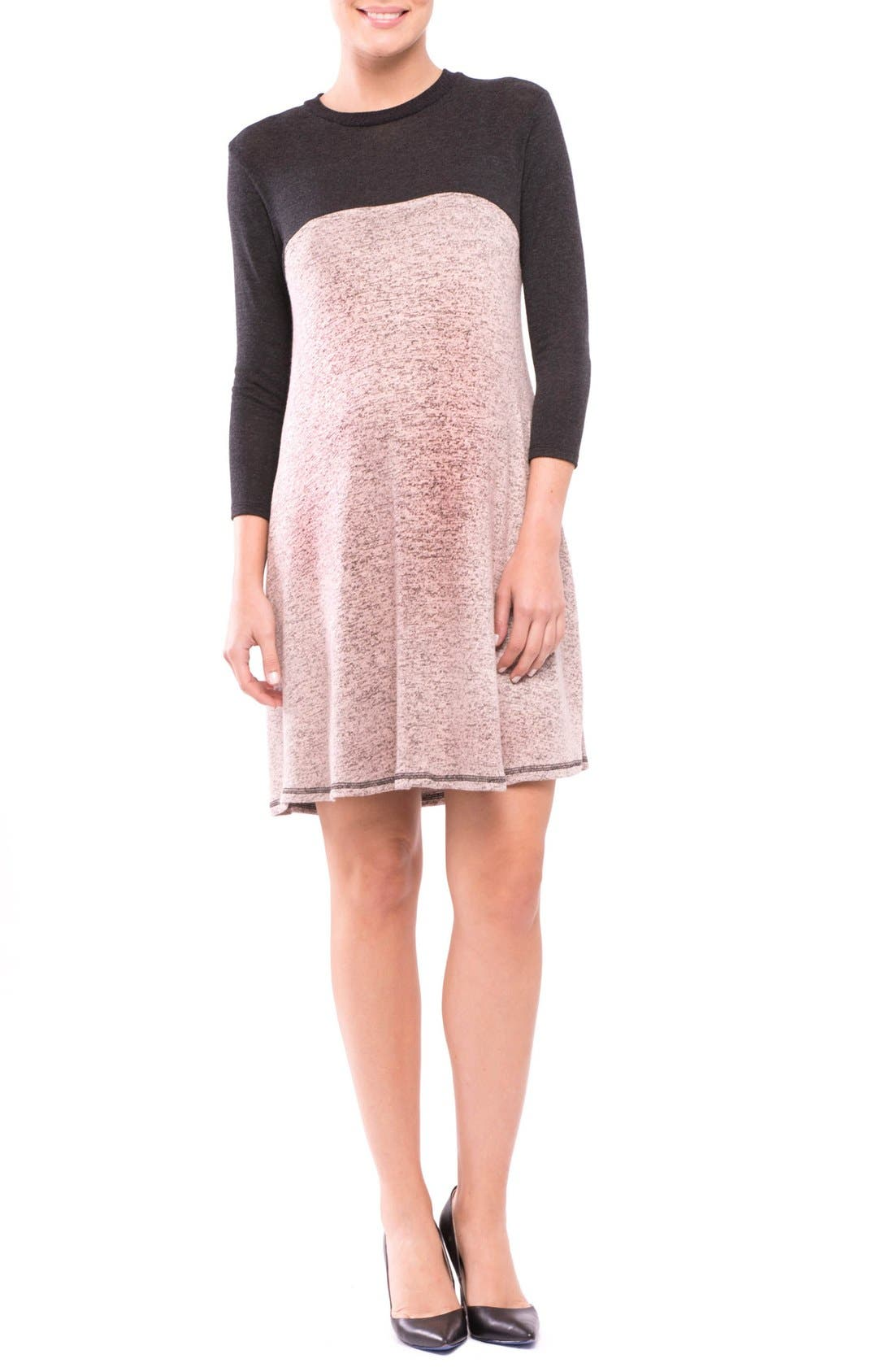 Paola Maternity Sweater Dress,                         Main,                         color, CHARCOAL/ ROSE