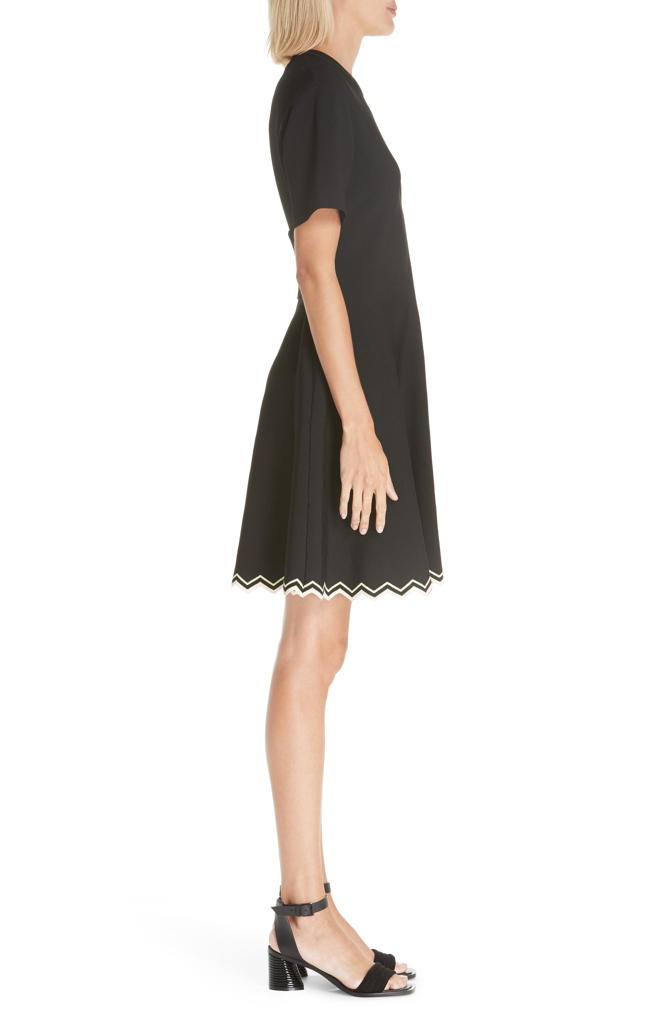Chevron Hem A-Line Dress,                             Alternate thumbnail 3, color,                             10225 BLACK COMBO