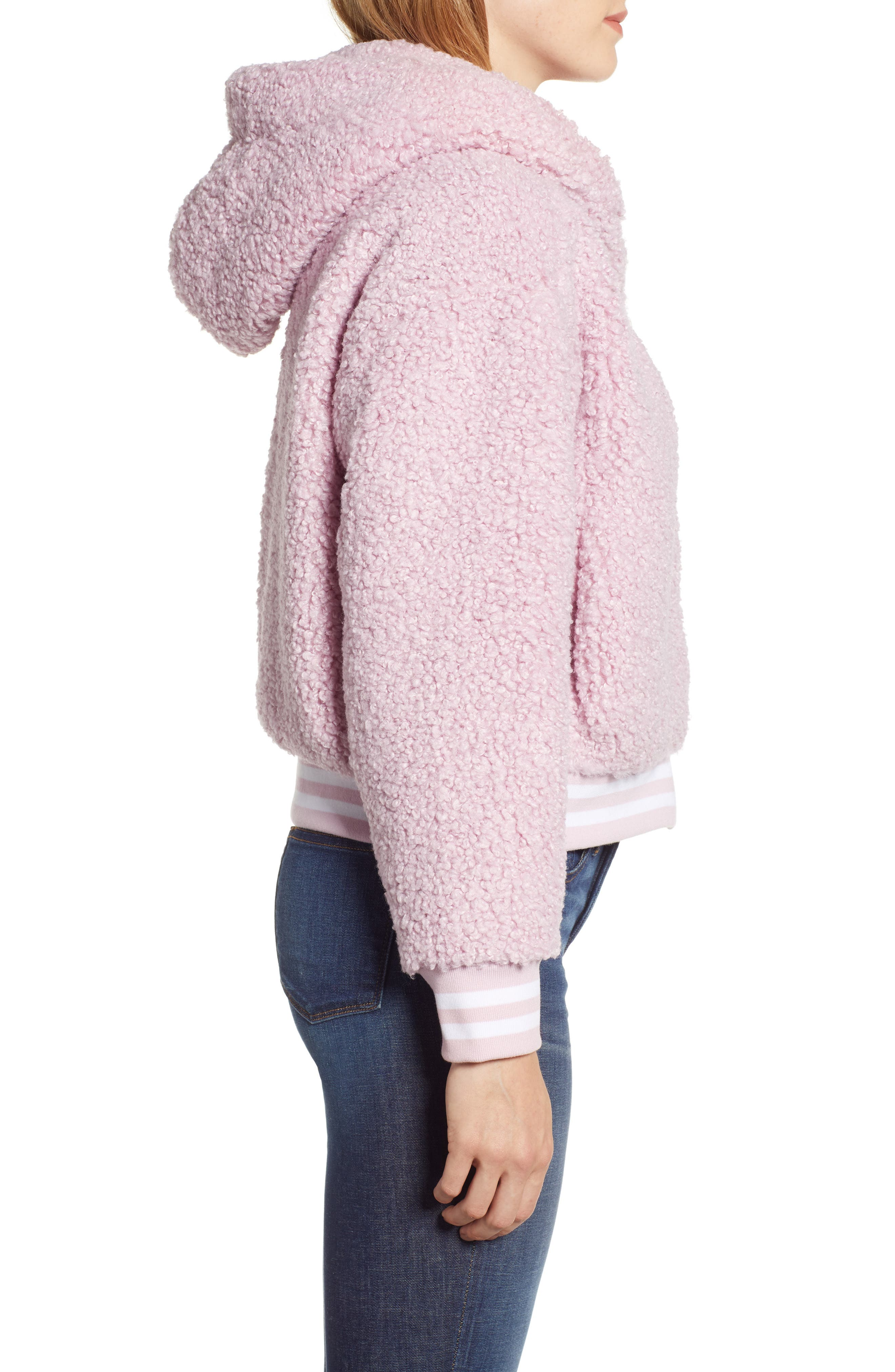 Frida Faux Fur Hooded Jacket,                             Alternate thumbnail 3, color,                             WINSOME ORCHID 3741