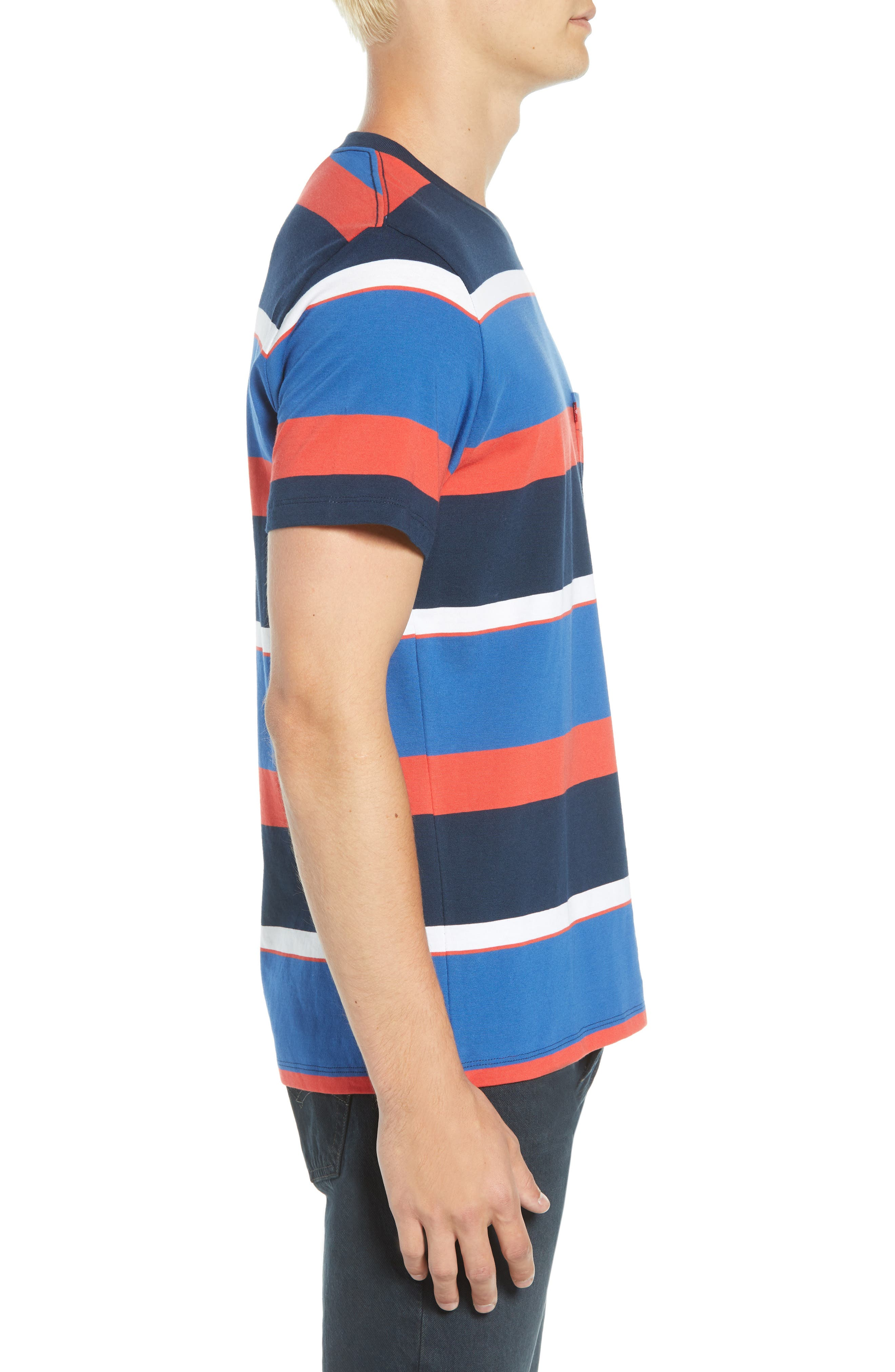 Levi's Sunset Stripe Pocket T-Shirt,                             Alternate thumbnail 3, color,                             SIXTIES RUGBY