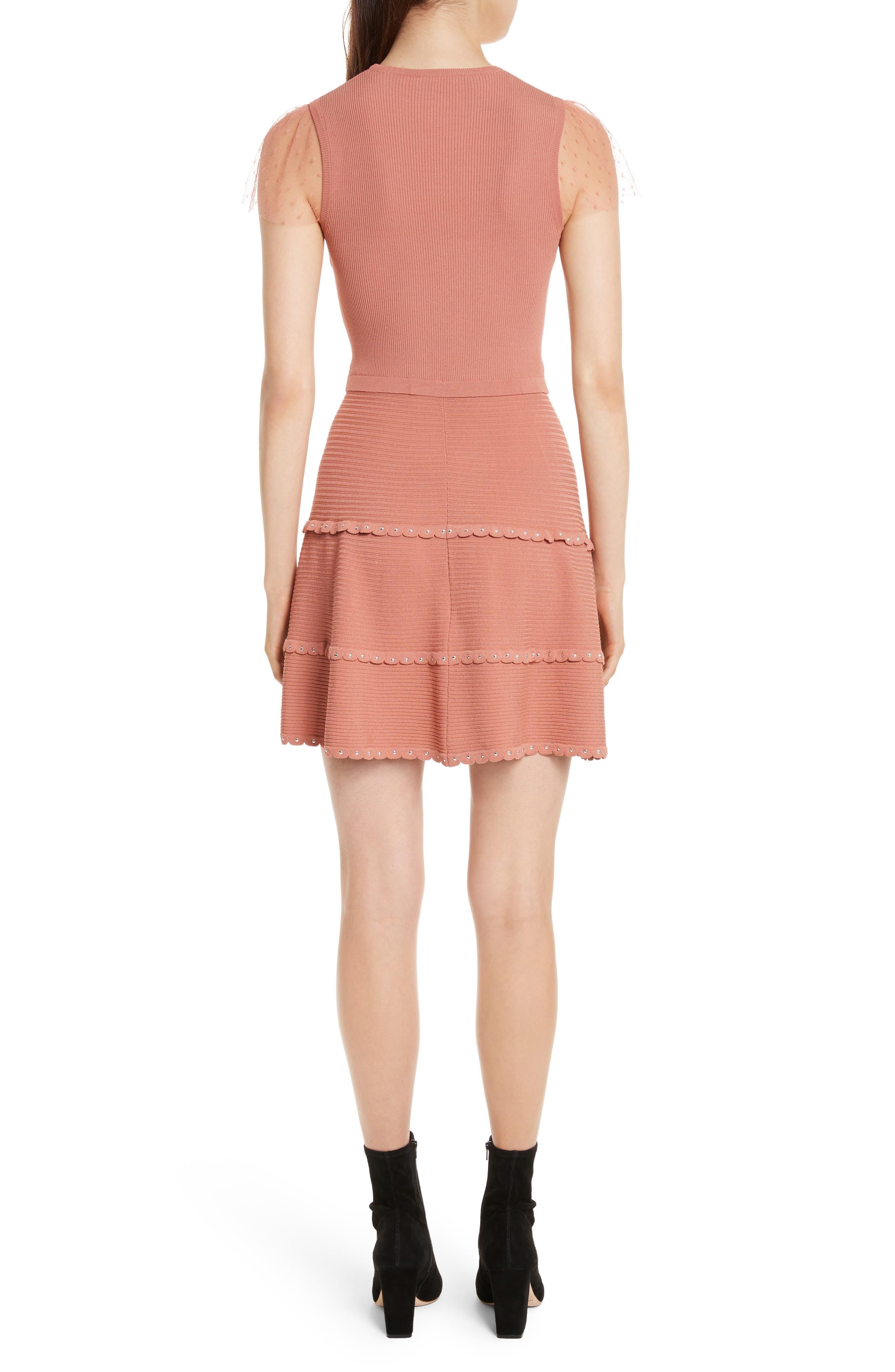 Scallop Stretch Knit Dress,                             Alternate thumbnail 2, color,