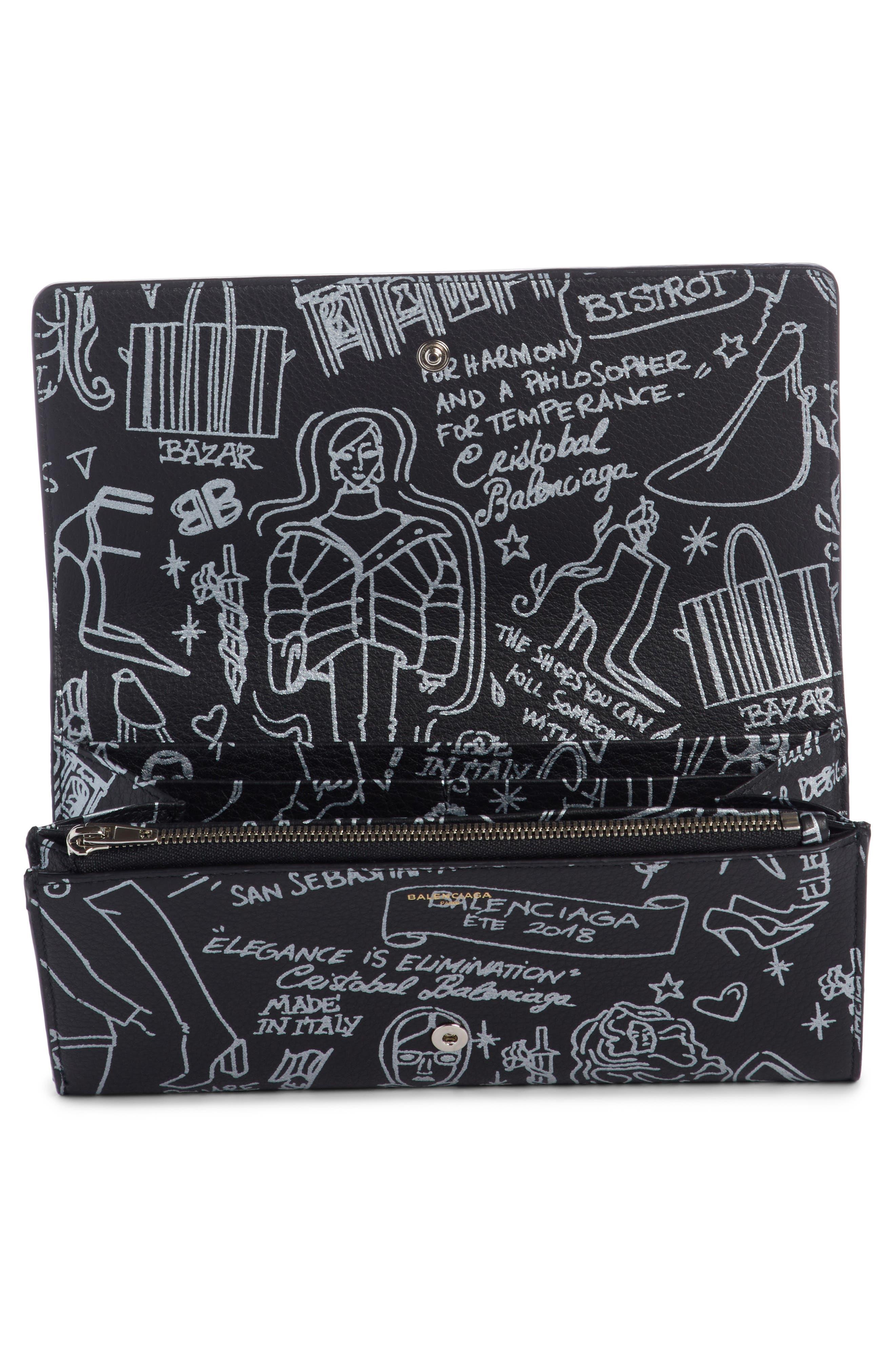 City Graffiti Embellished Calfskin Wallet,                             Alternate thumbnail 2, color,                             001