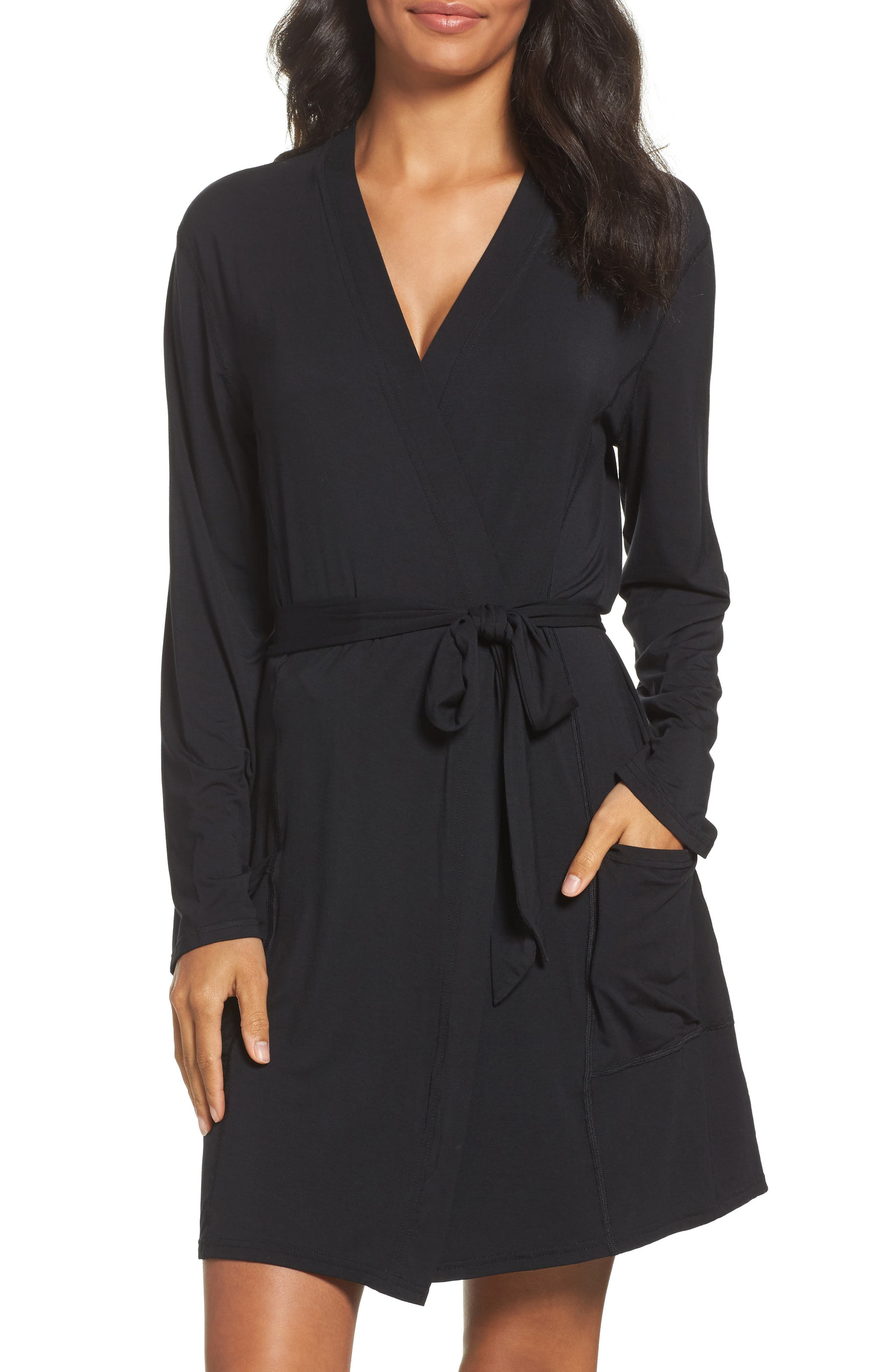 Short Robe,                             Main thumbnail 1, color,                             BLACK
