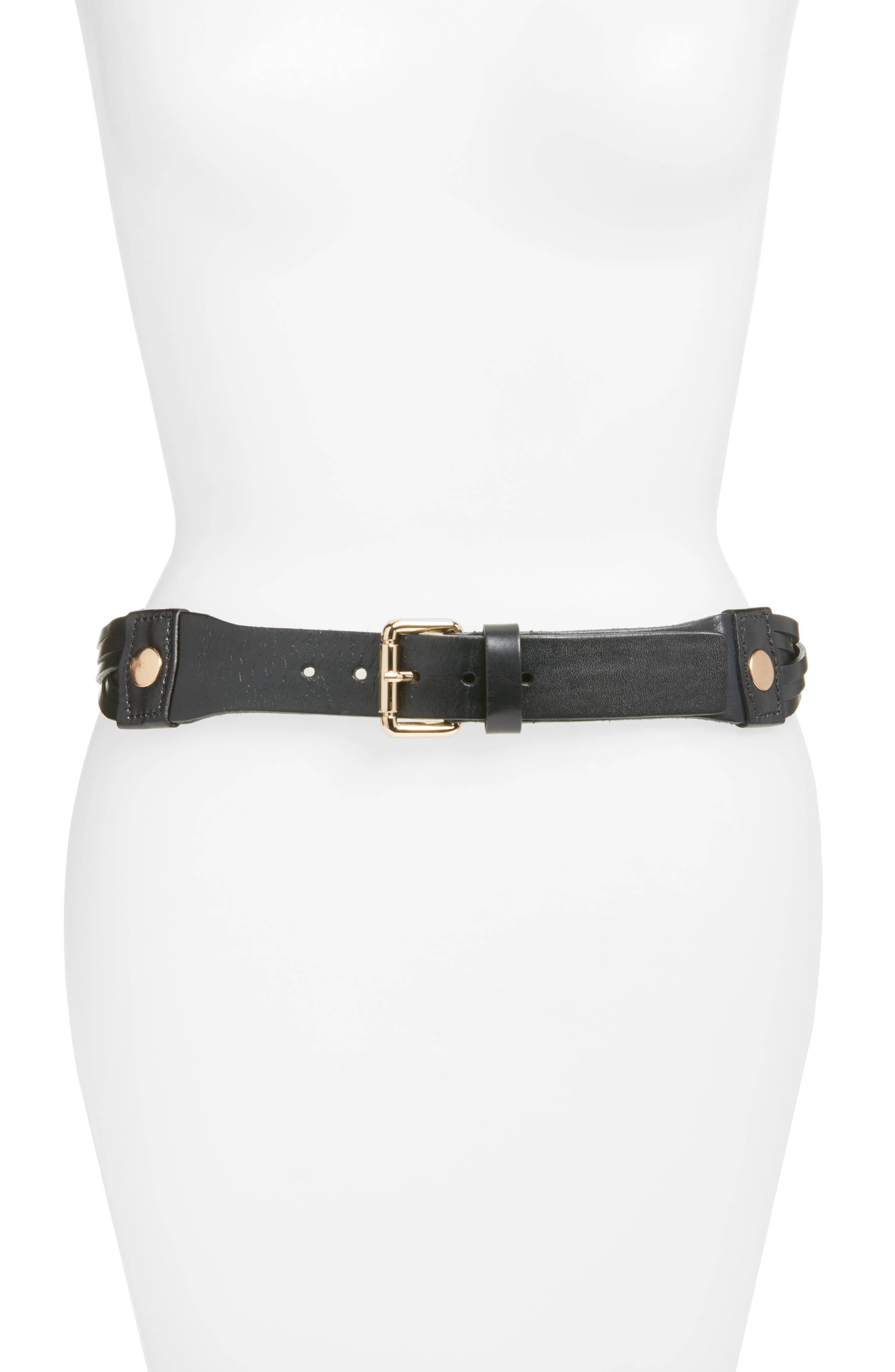 ELISE M.,                             Hunter Twisted Leather Hip Belt,                             Main thumbnail 1, color,                             001