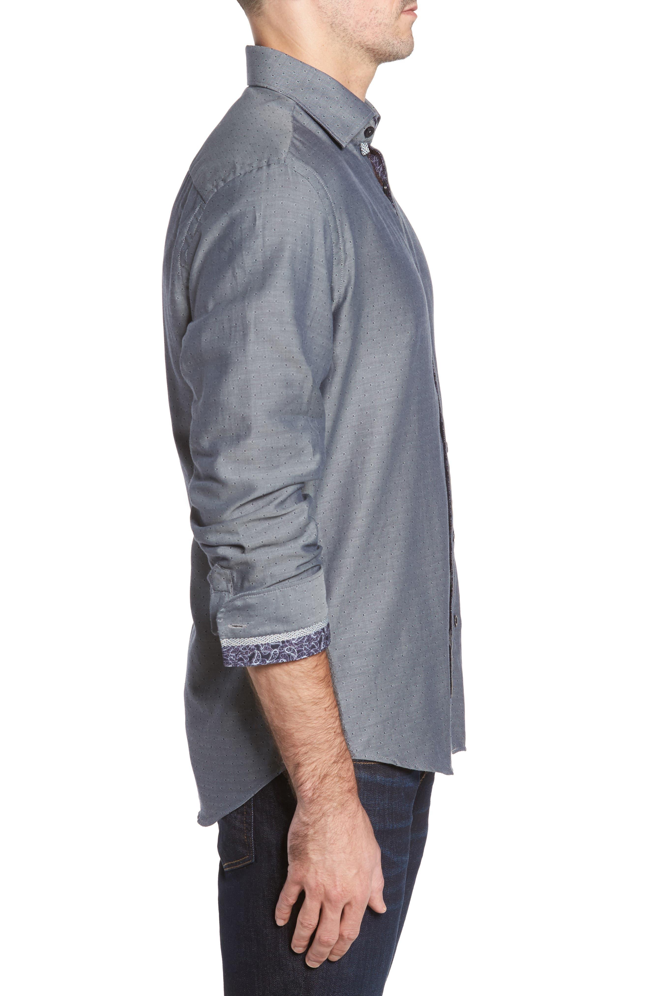 Slim Fit Diamond Twill Sport Shirt,                             Alternate thumbnail 3, color,                             020