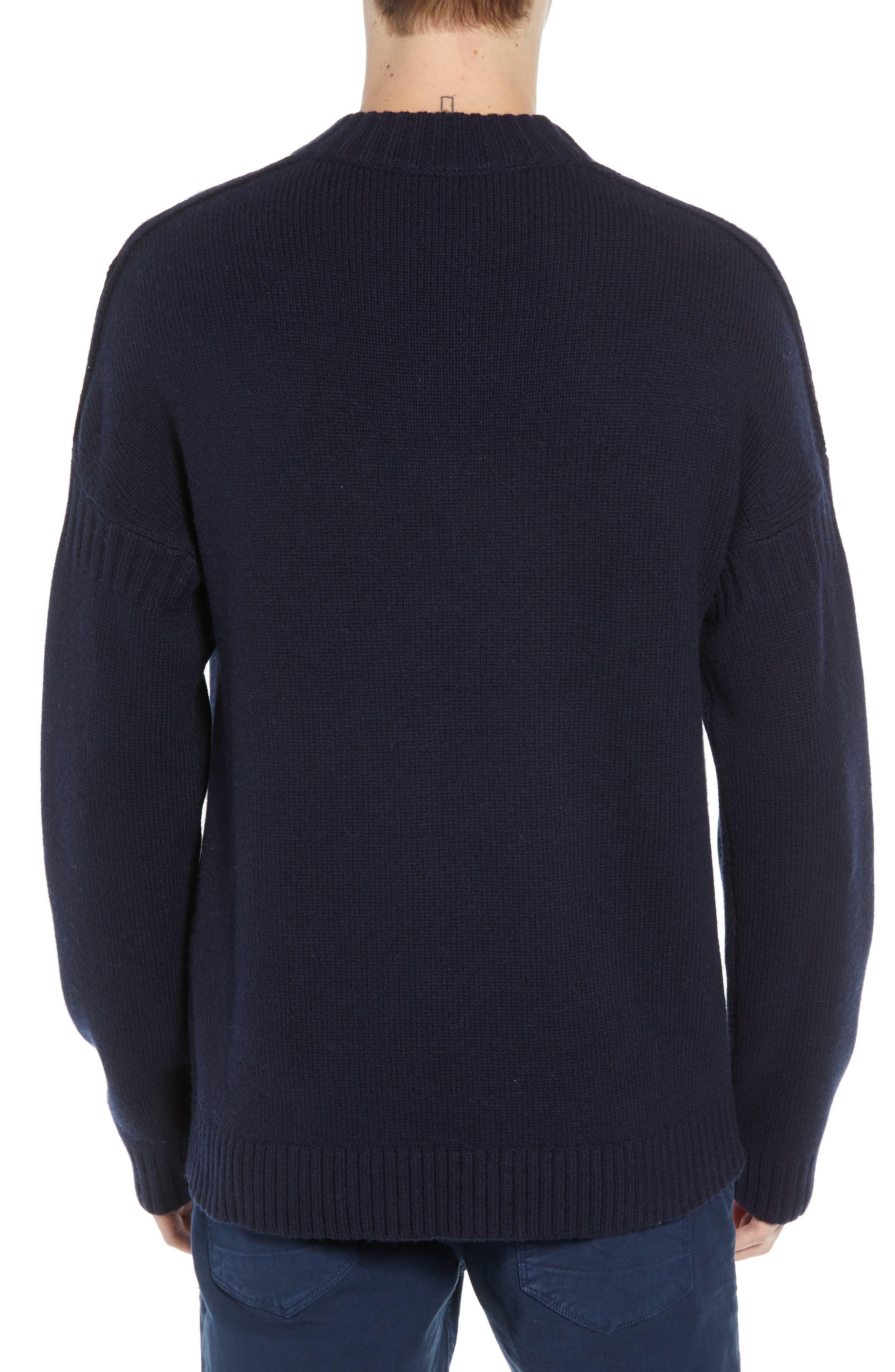 Fisherman Wool Blend Crewneck Sweater,                             Alternate thumbnail 2, color,                             UTILITY BLUE