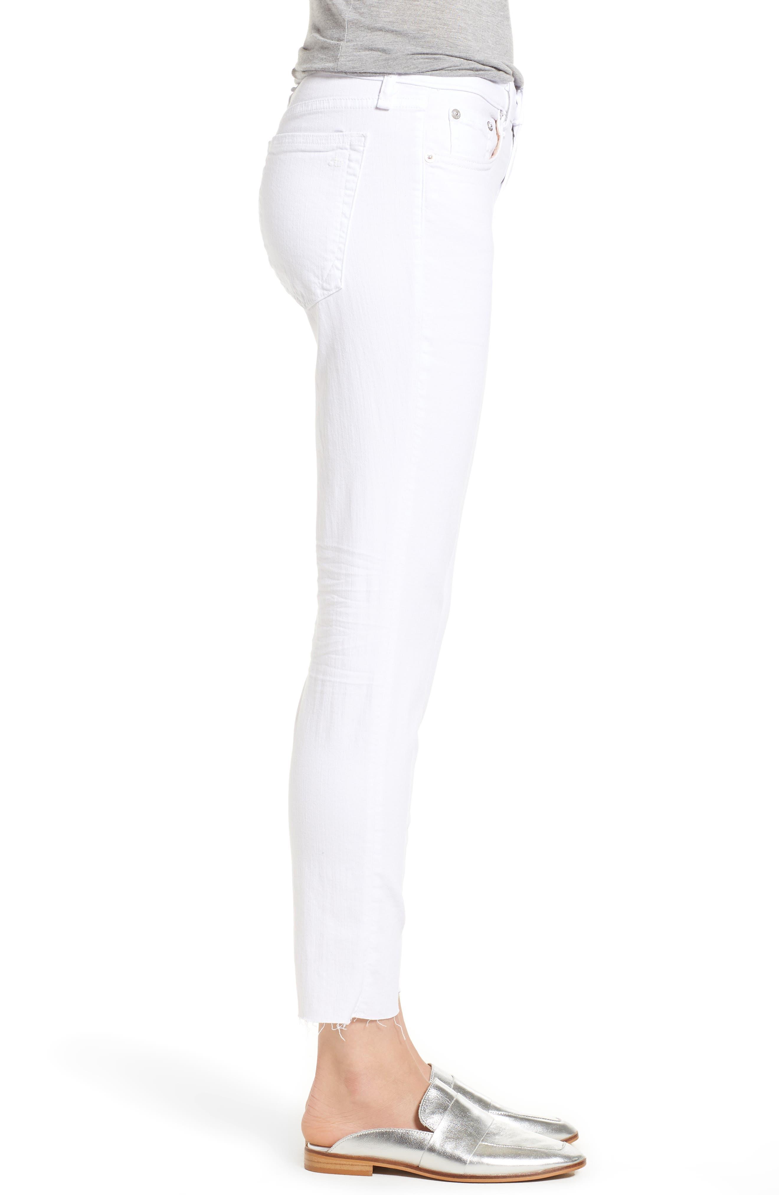 The Dre Ankle Slim Boyfriend Jeans,                             Alternate thumbnail 3, color,                             WHITE